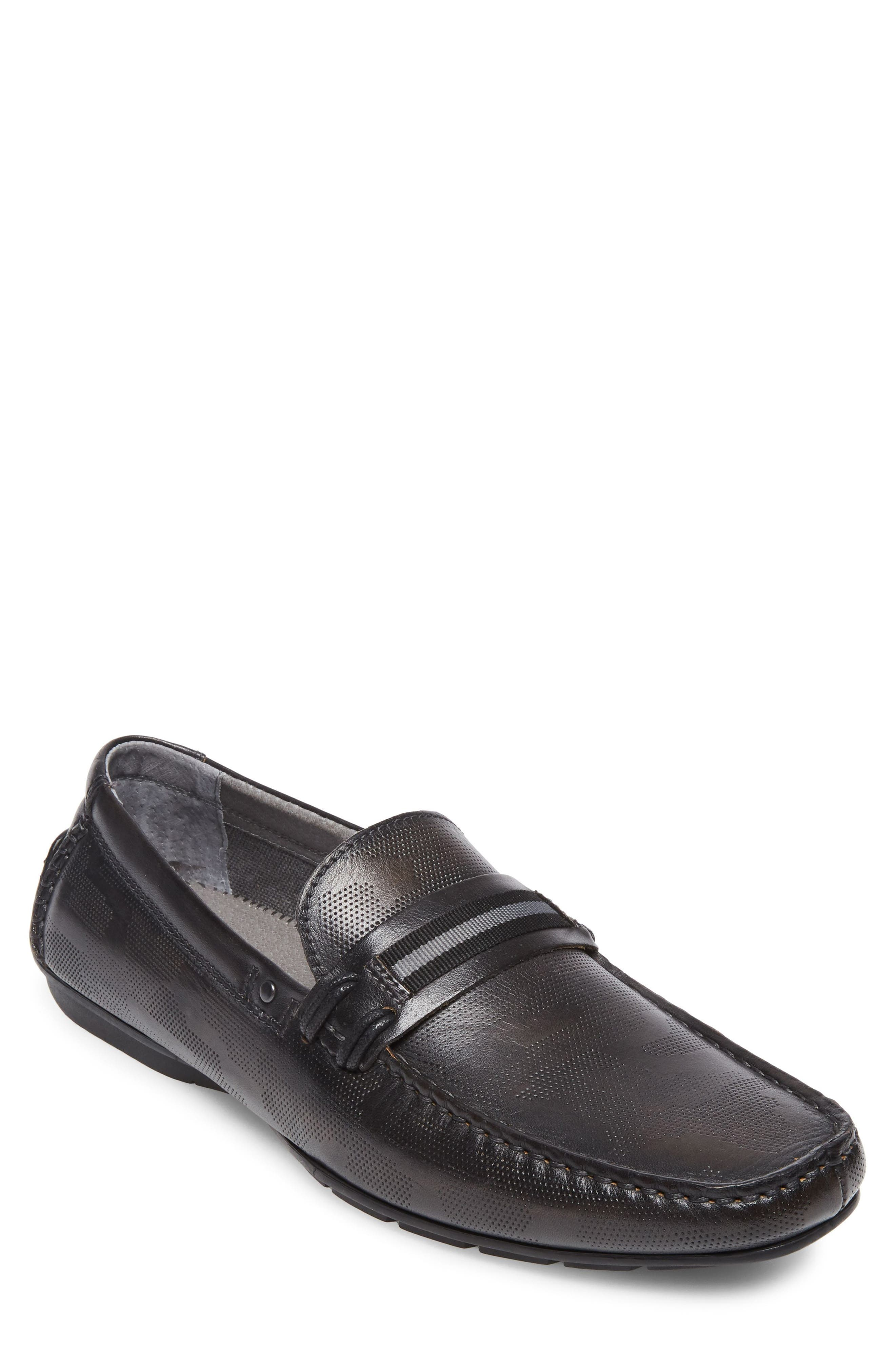 Garvet Textured Driving Loafer,                             Main thumbnail 1, color,                             BLACK LEATHER
