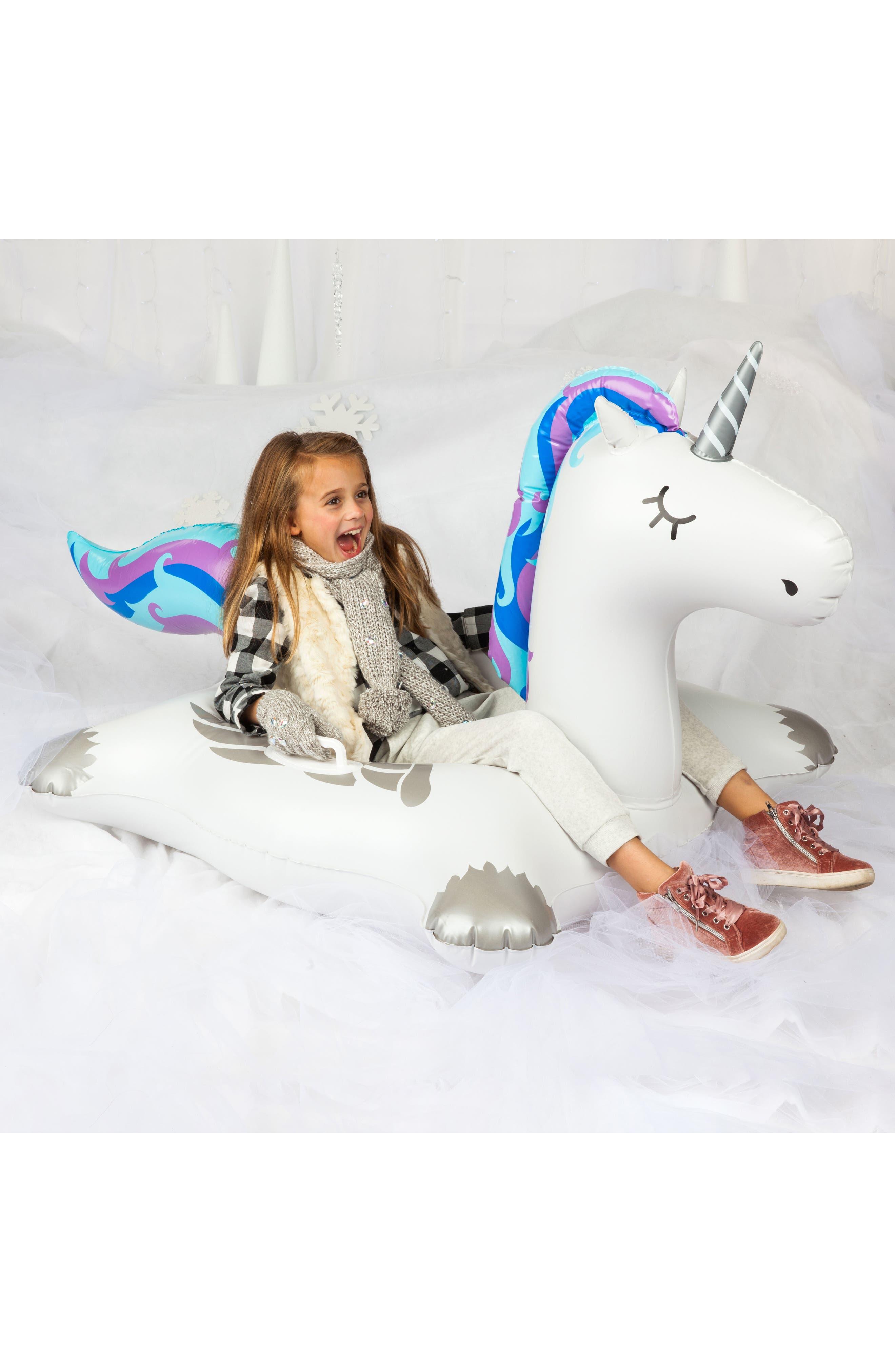 Winter Unicorn Inflatable Snow Tube,                             Alternate thumbnail 3, color,                             100