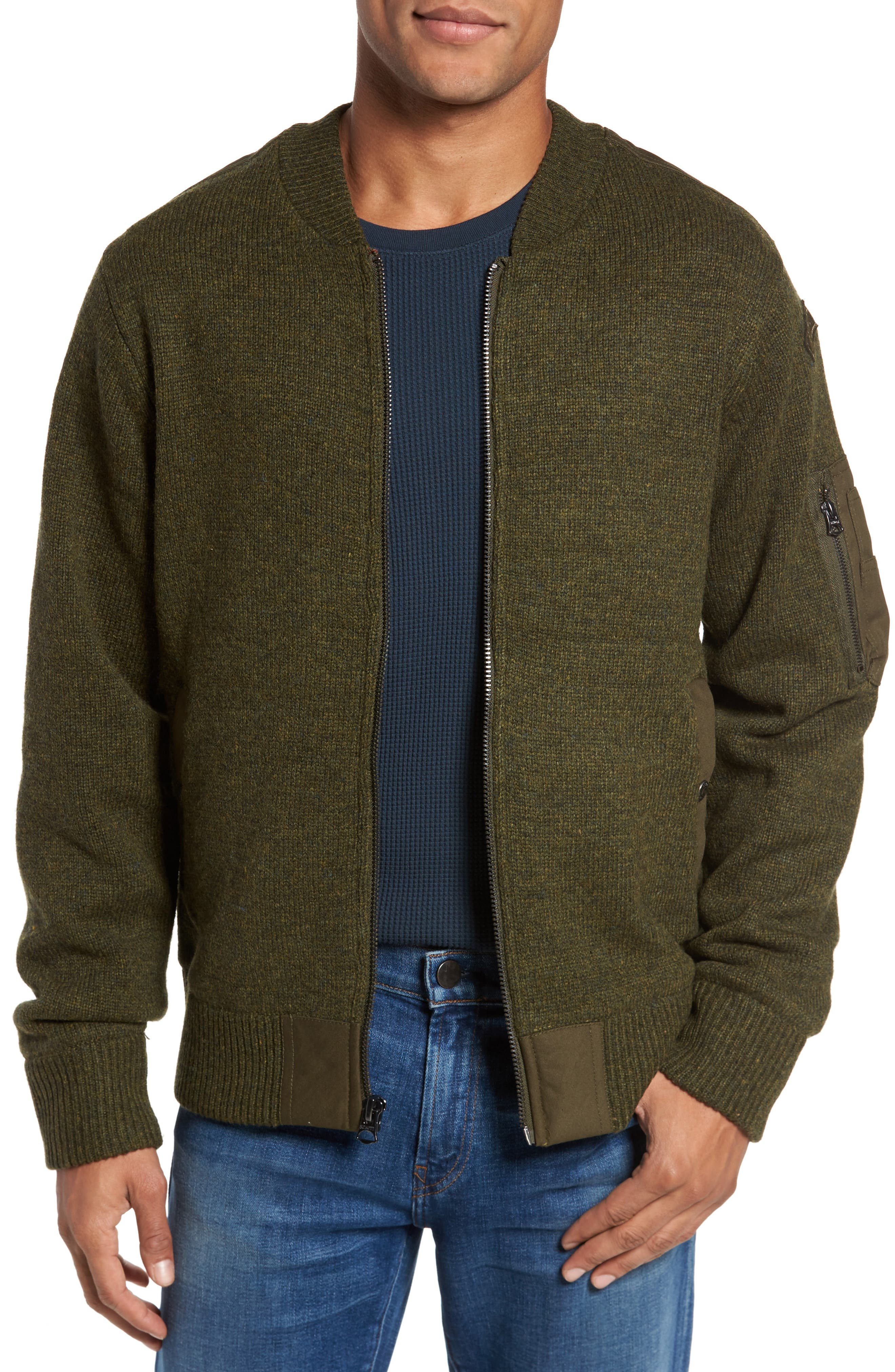 MA-1 Sweater Jacket,                         Main,                         color, MOSS GREEN