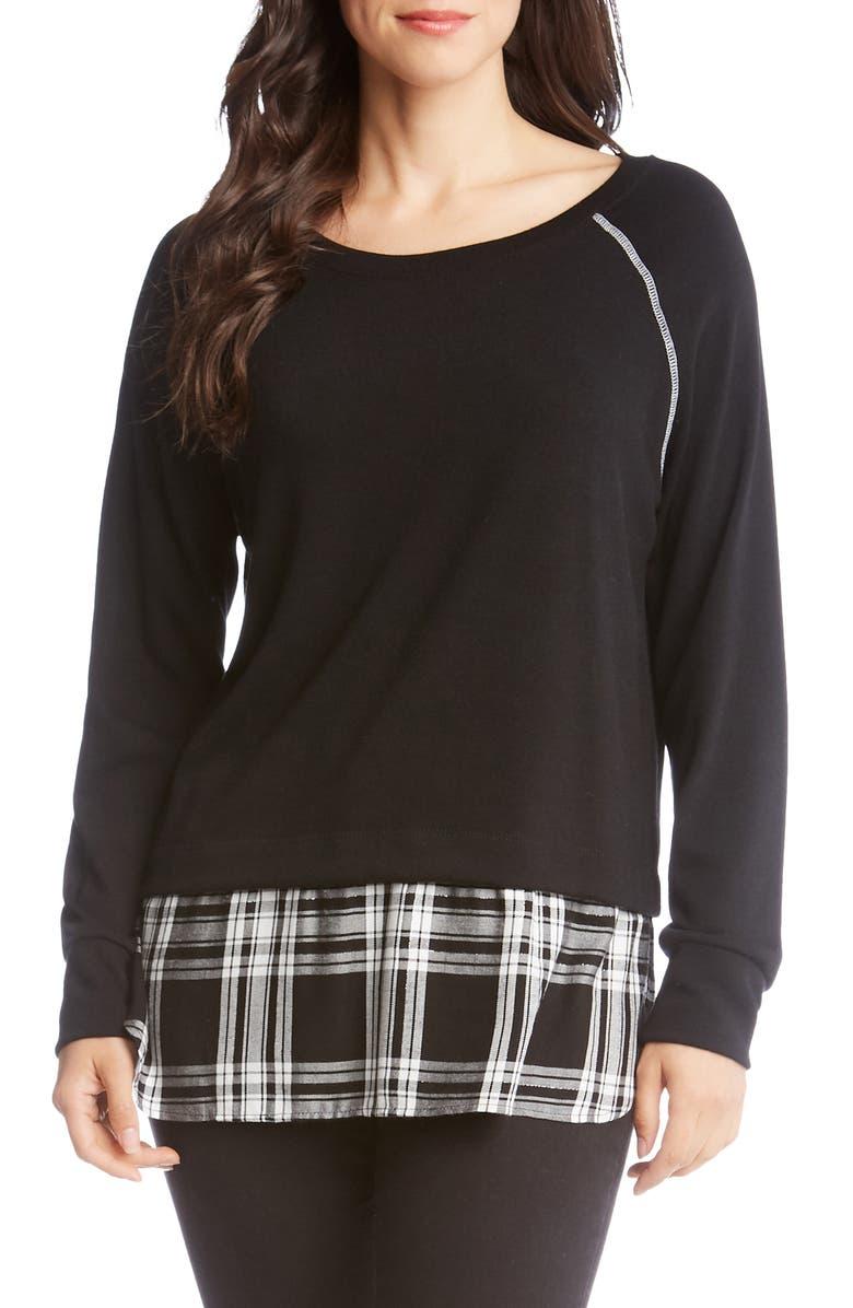 Karen Kane Sweatshirts PLAID HEM SWEATER