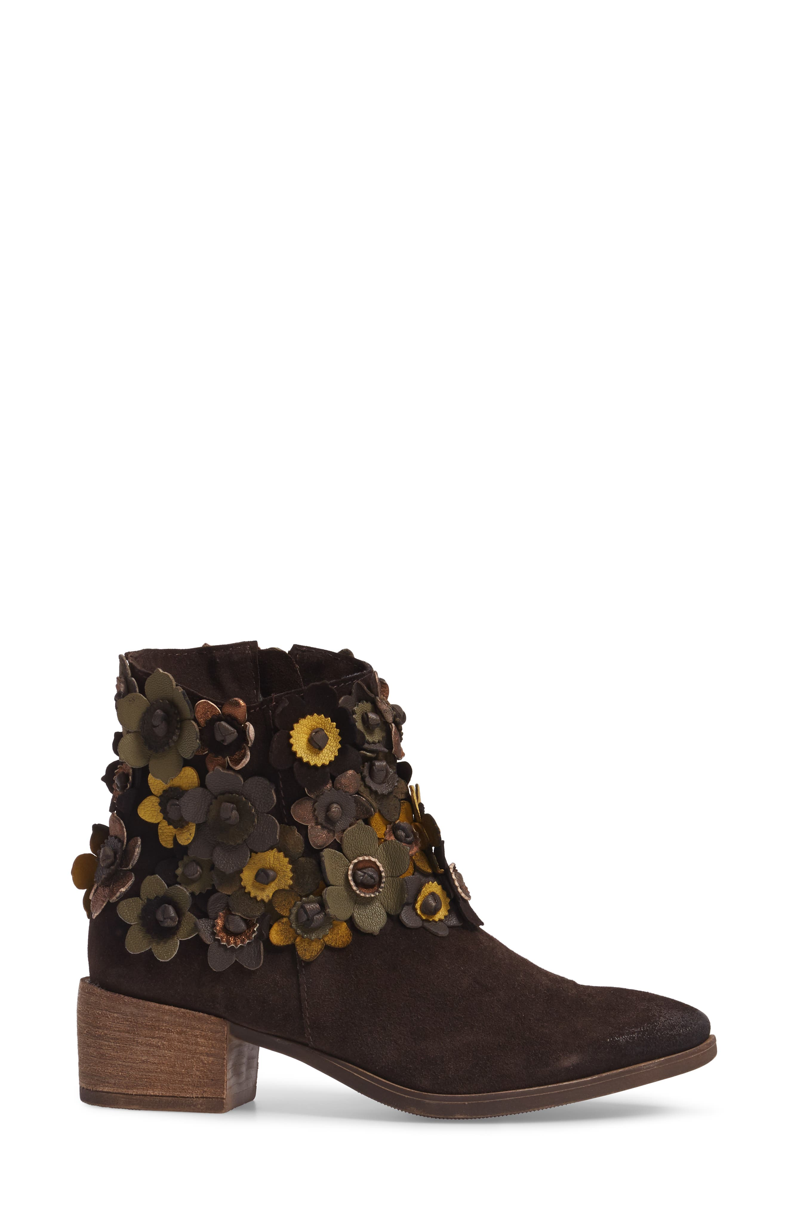 Sunflower Embellished Bootie,                             Alternate thumbnail 3, color,                             BROWN SUEDE