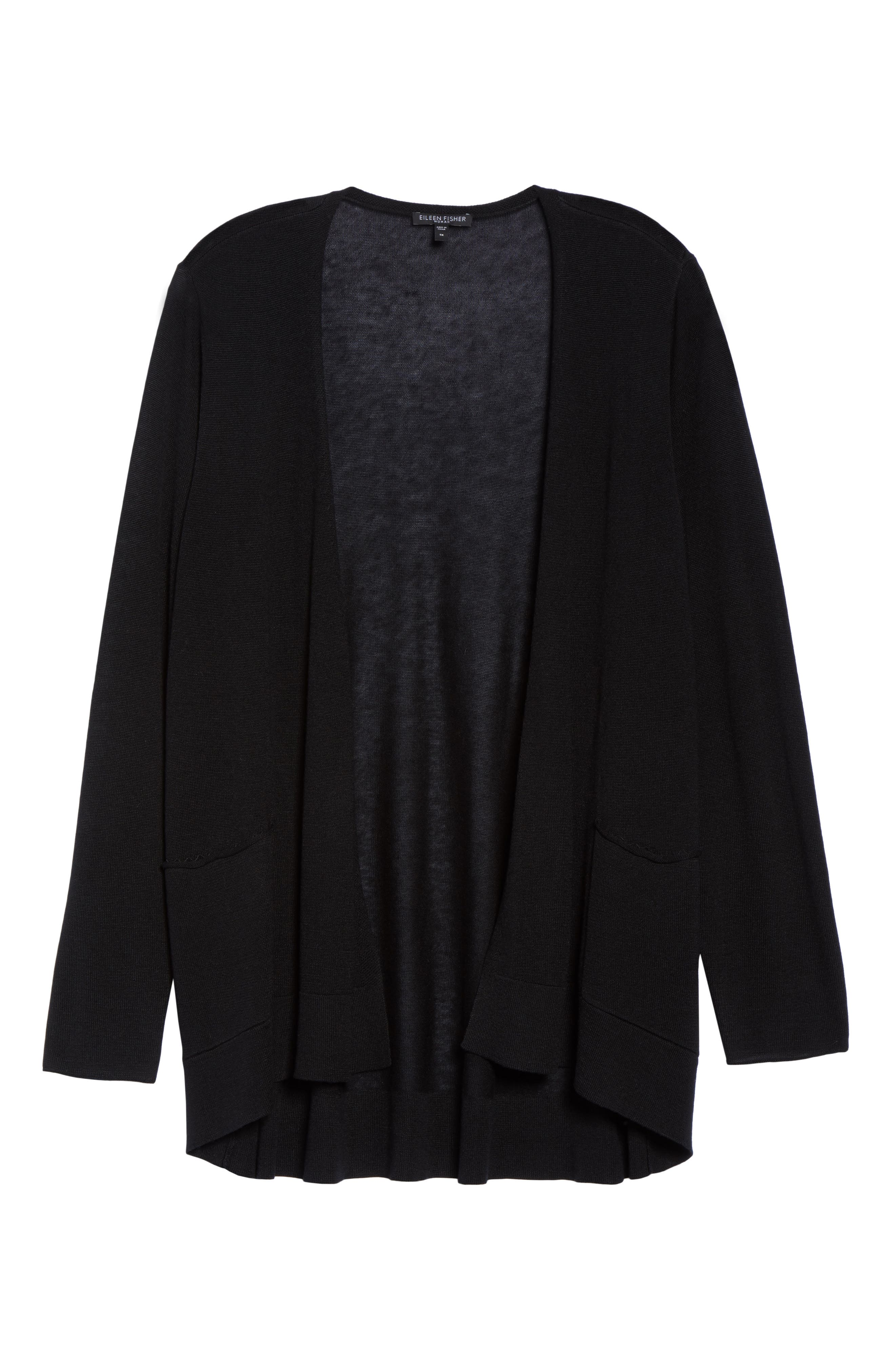 Slouchy Tencel<sup>®</sup> Blend Cardigan,                             Alternate thumbnail 6, color,                             001