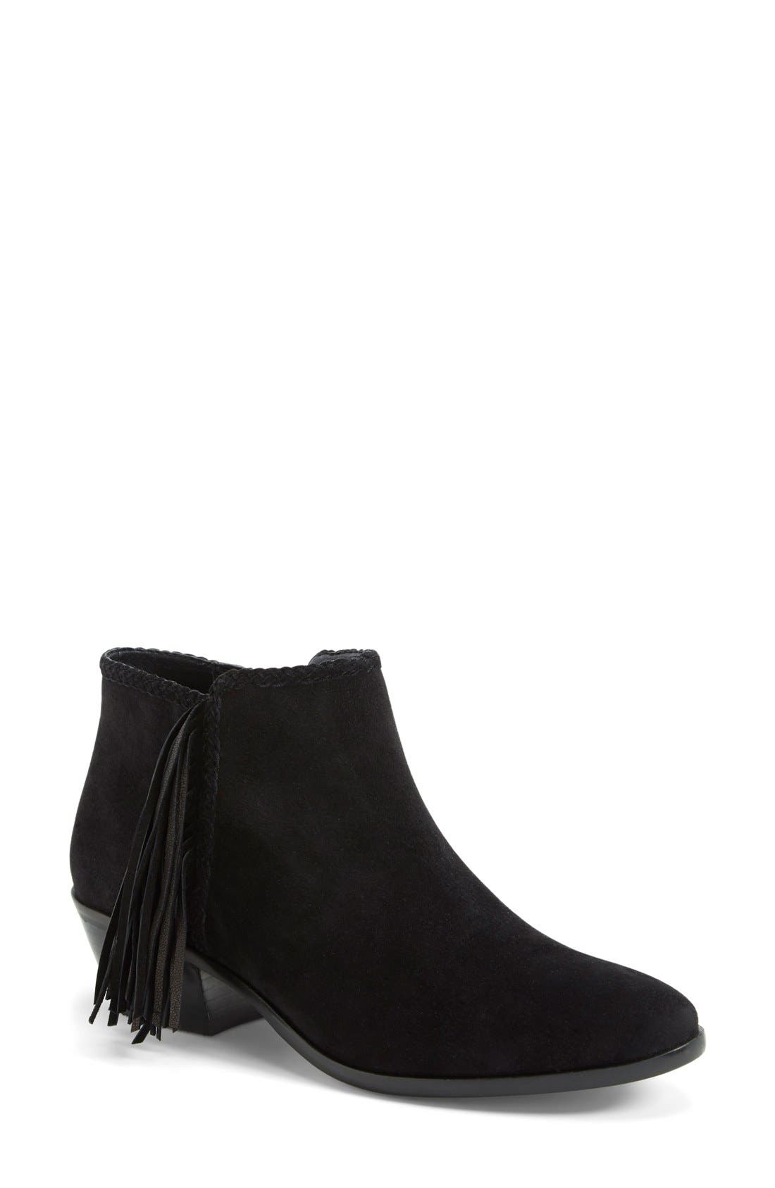 'Paige' Fringed Ankle Bootie,                             Main thumbnail 1, color,                             004