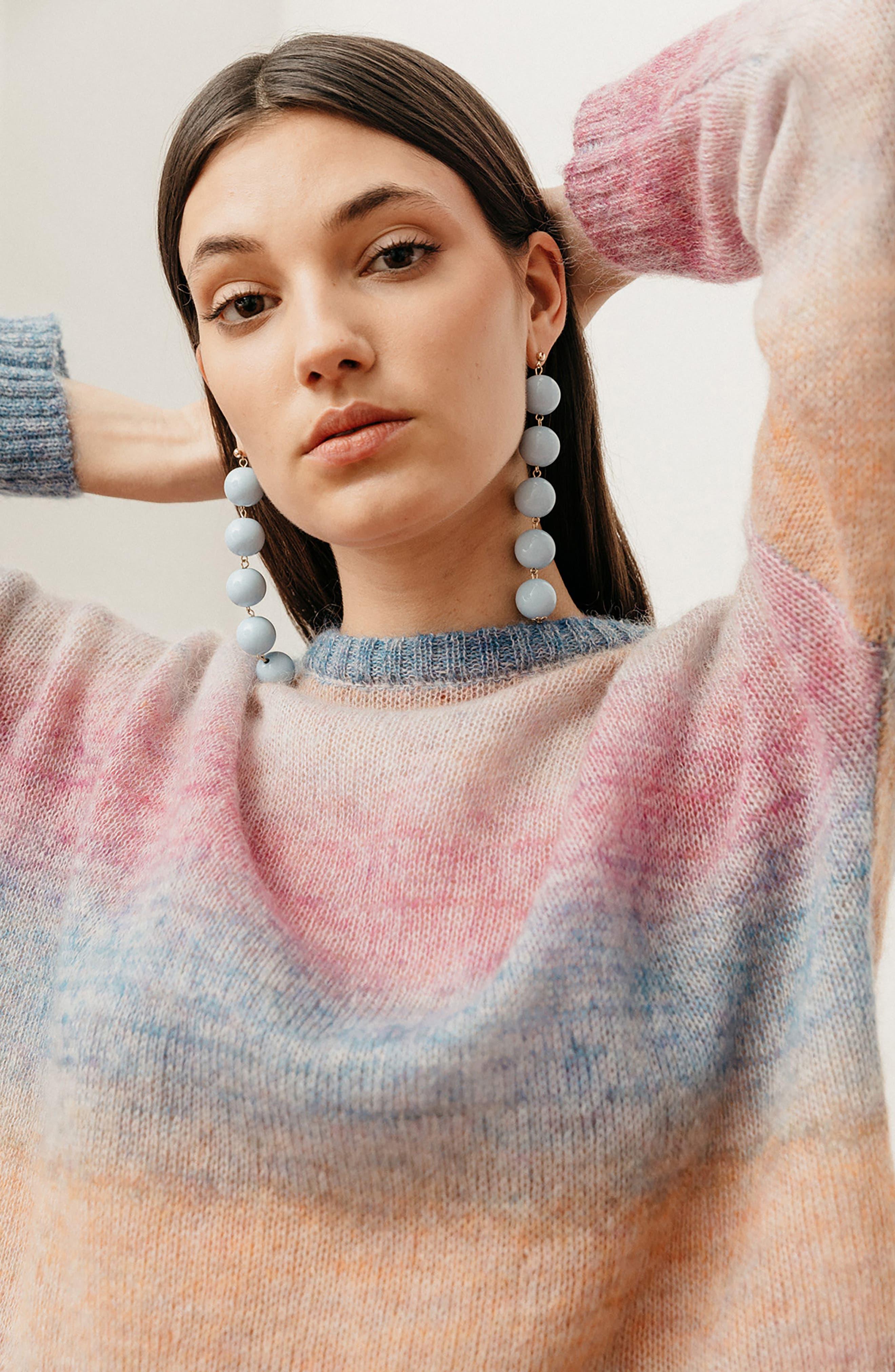 Camille Stripe Sweater,                             Alternate thumbnail 9, color,                             RAINBOW