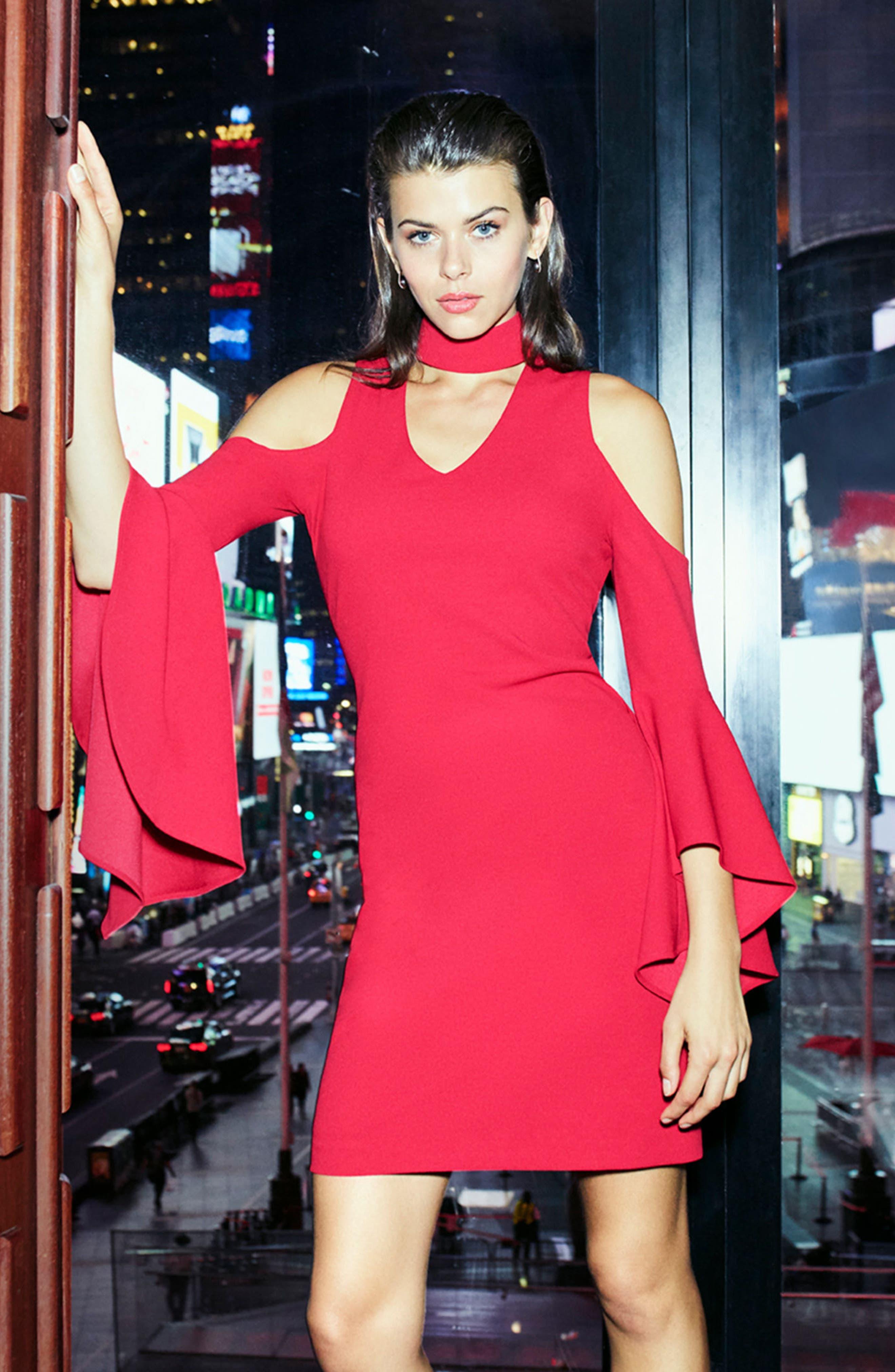 Cold Shoulder Bell Sleeve Dress,                             Alternate thumbnail 8, color,                             614