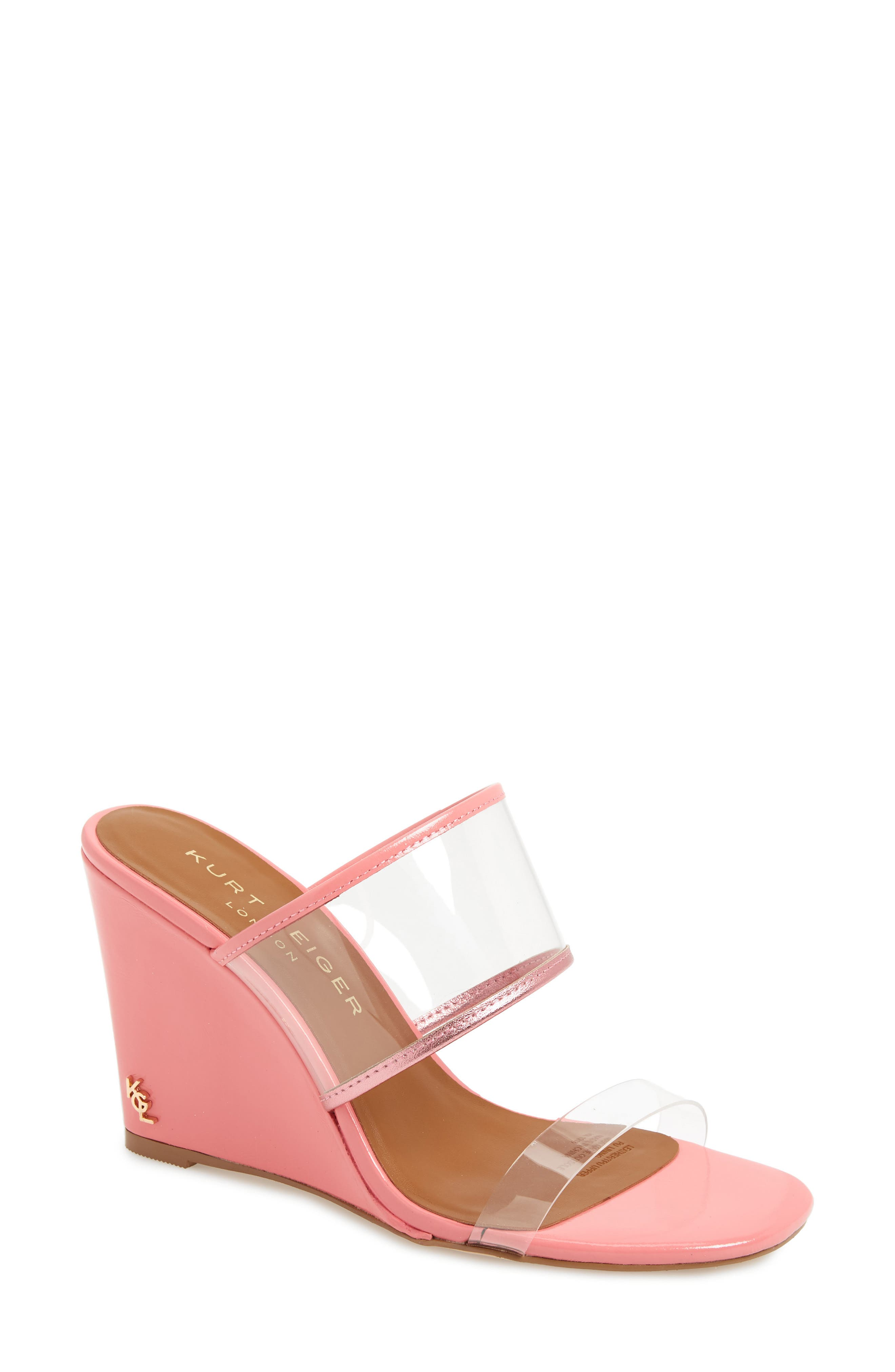 KURT GEIGER LONDON,                             Charing Wedge Slide Sandal,                             Main thumbnail 1, color,                             PINK FAUX LEATHER