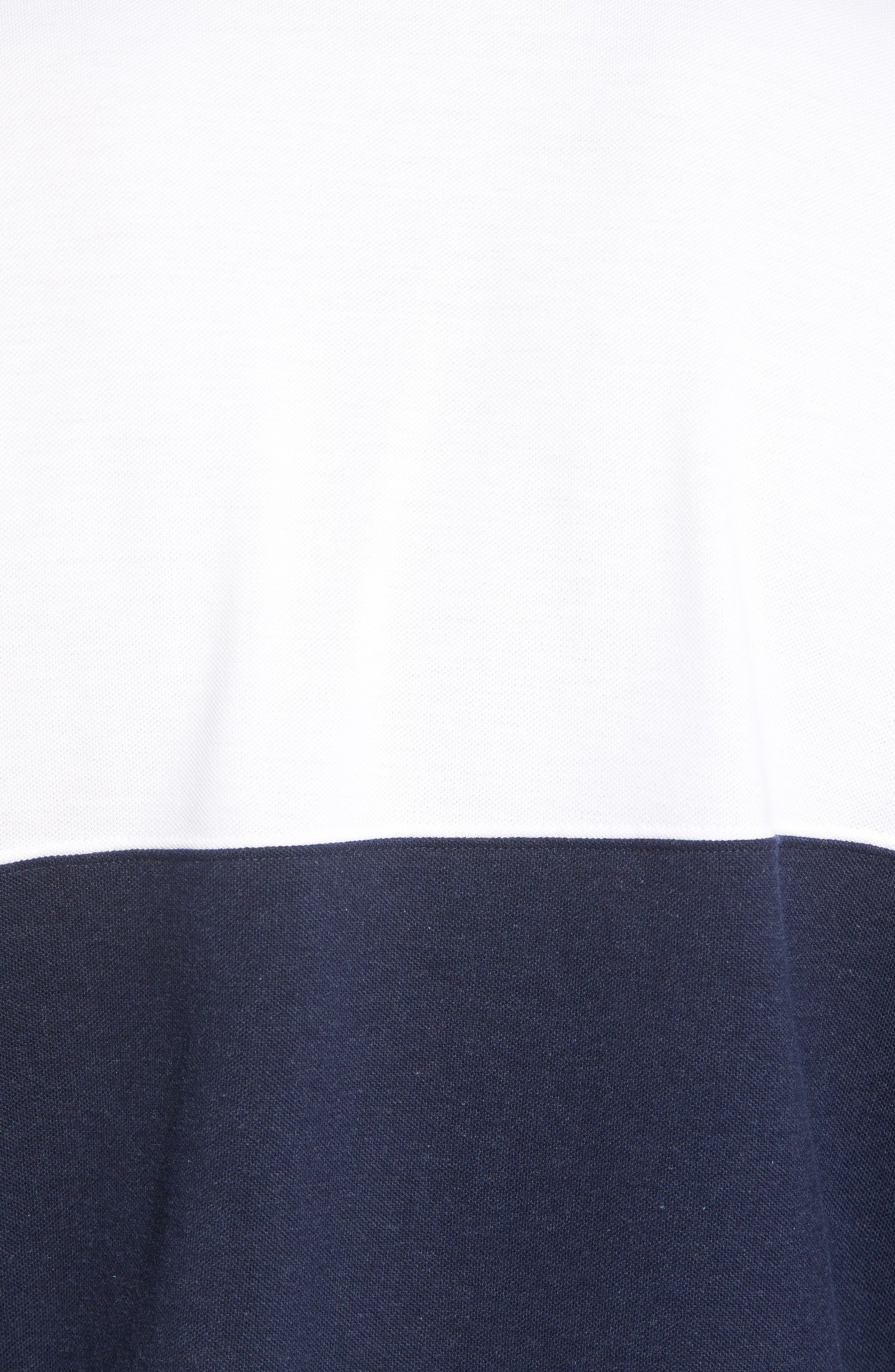 Regular Fit Rugby Piqué Polo,                             Alternate thumbnail 5, color,                             NAVY BLAZER WHITE