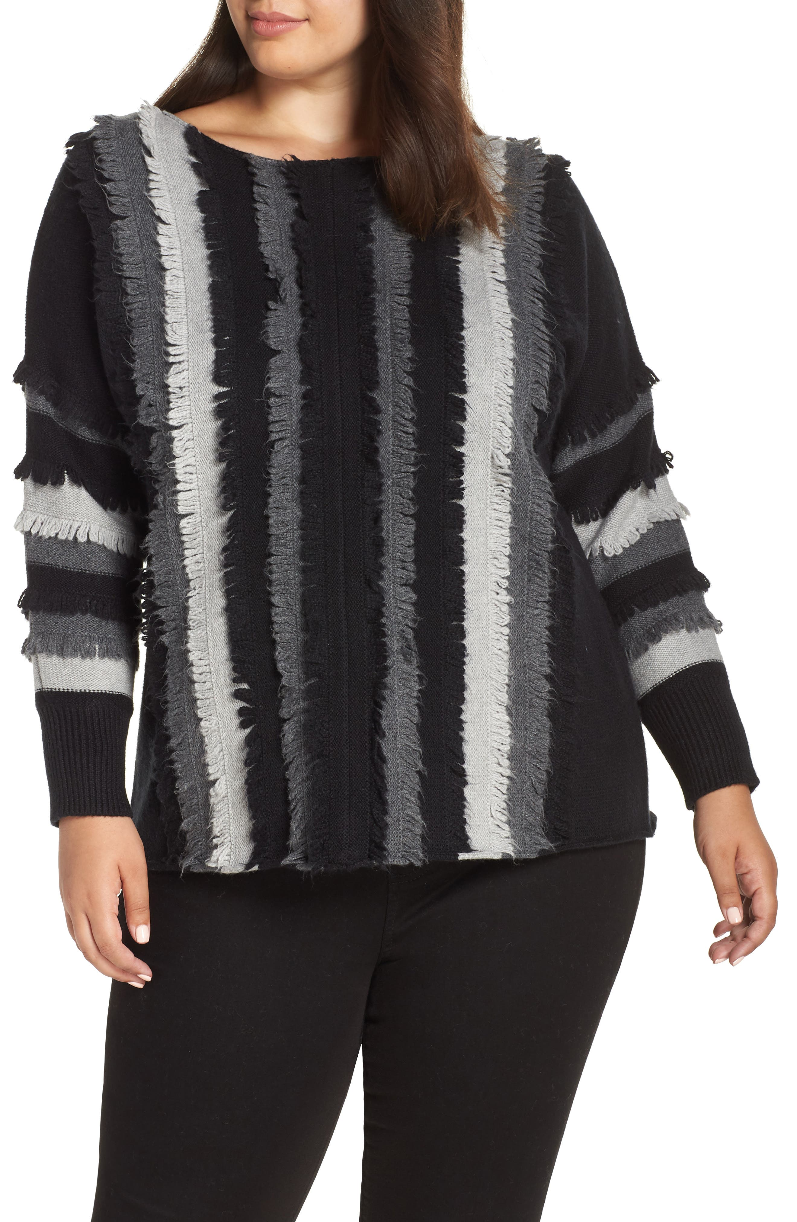 Colorblock Loop Stitch Sweater,                         Main,                         color, RICH BLACK
