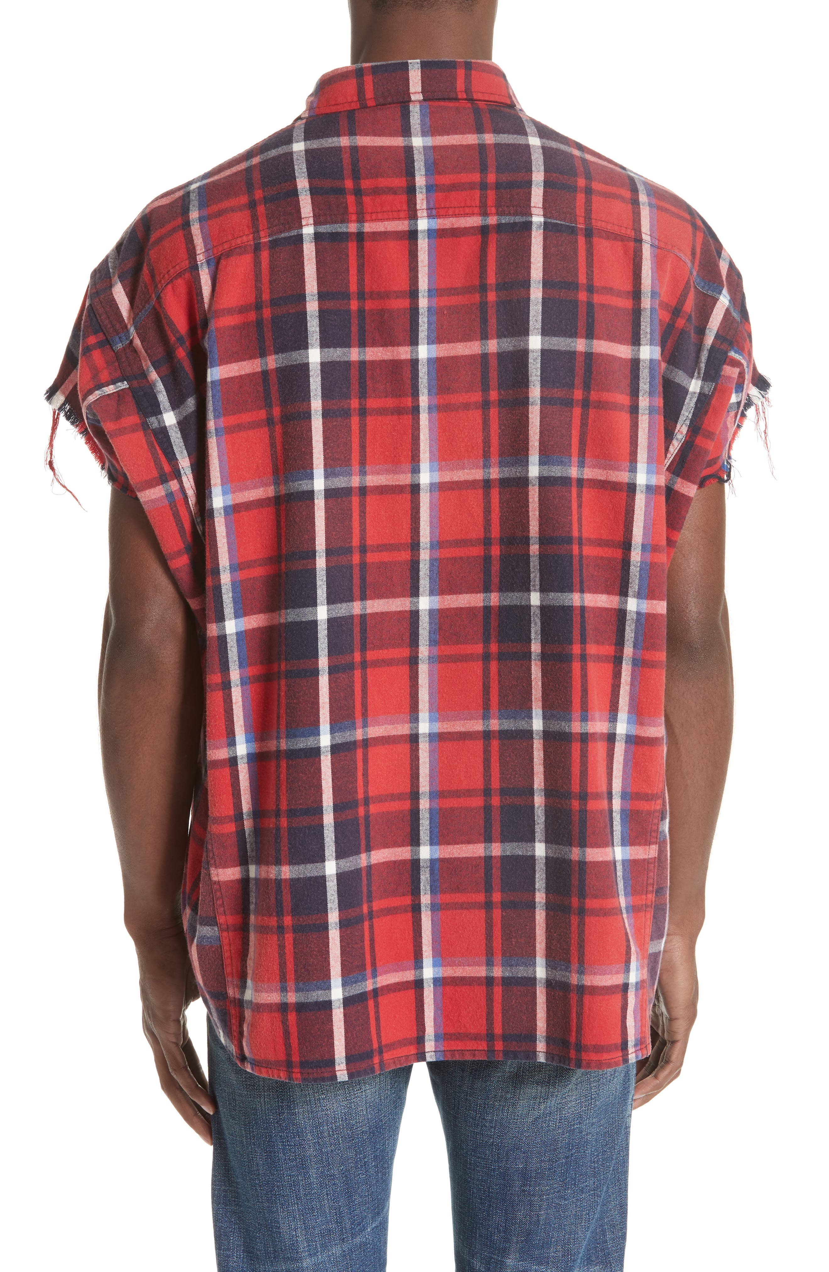 Oversize Cut Off Flannel Shirt,                             Alternate thumbnail 2, color,                             RED