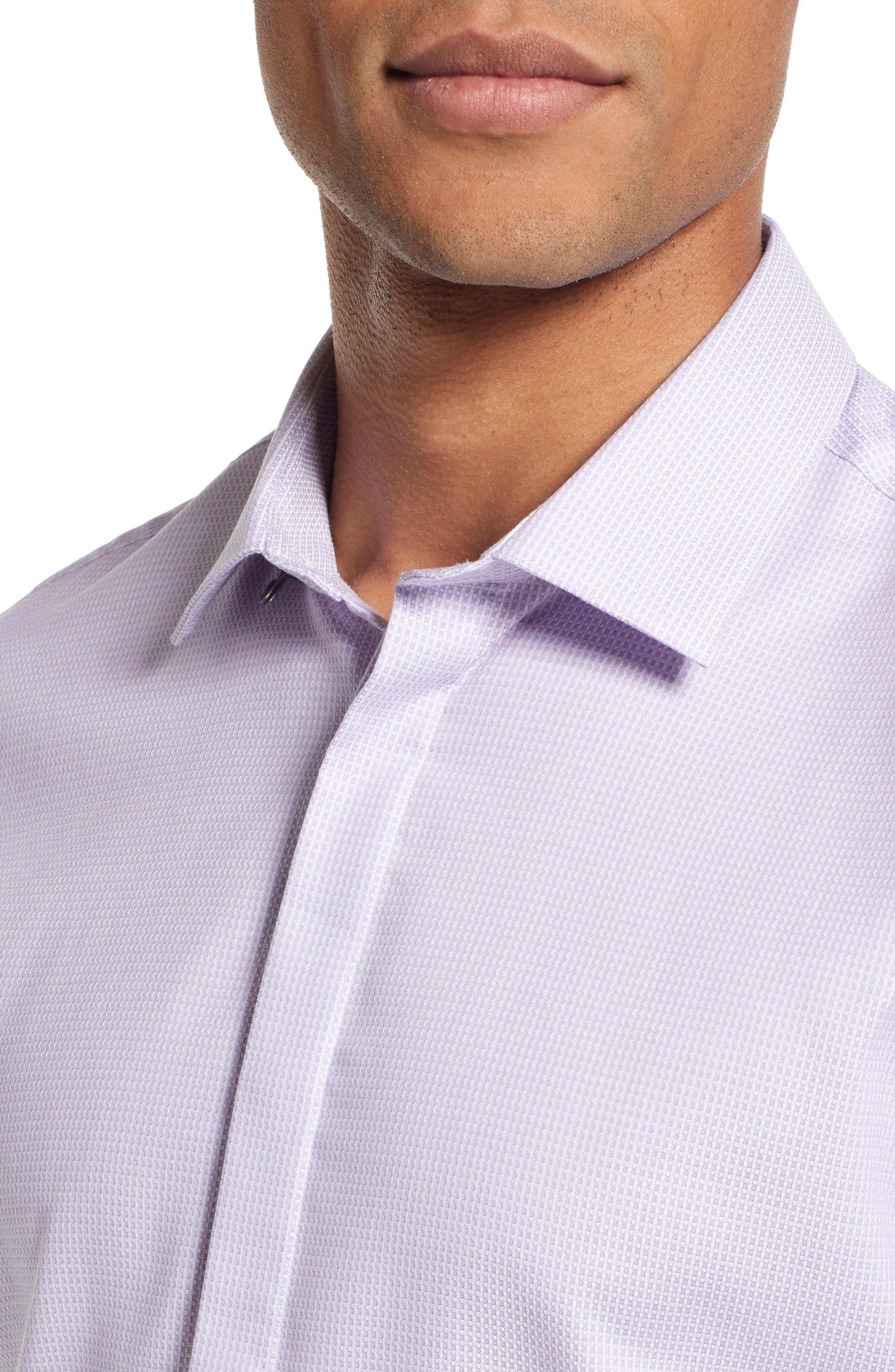 Slim Fit Stretch Check Dress Shirt,                             Alternate thumbnail 2, color,                             LAVENDER