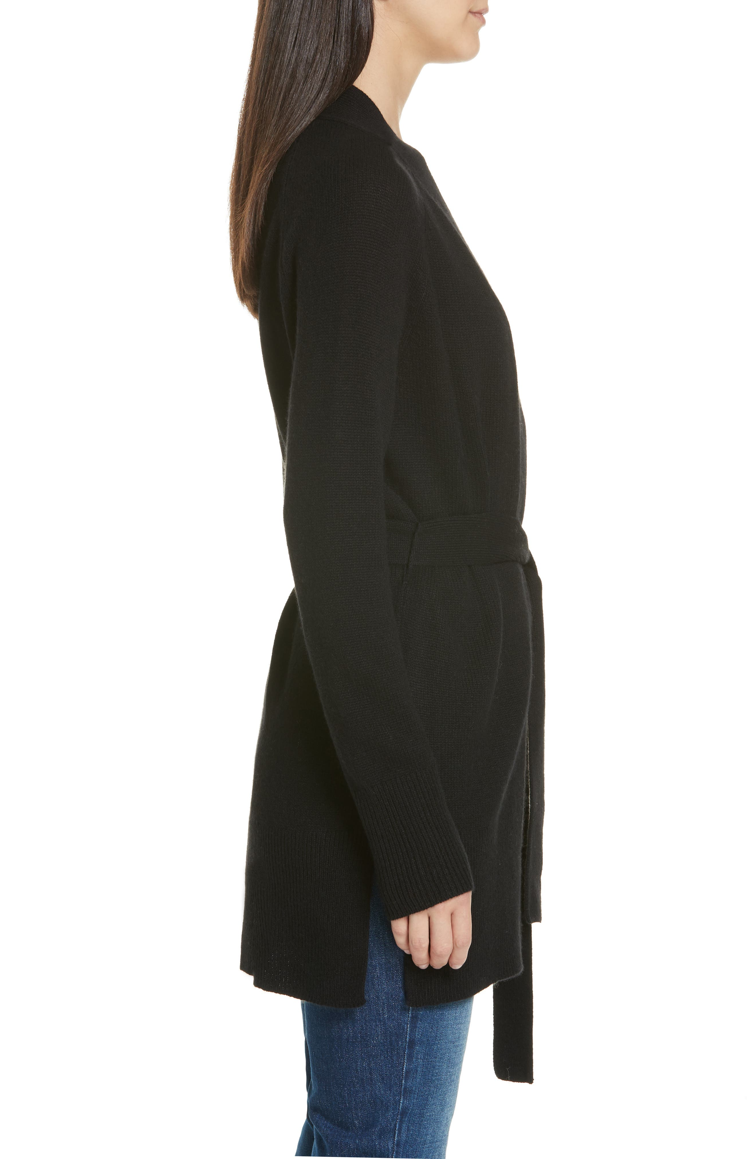 Malinka O Cashmere Tie Waist Cardigan,                             Alternate thumbnail 3, color,                             BLACK