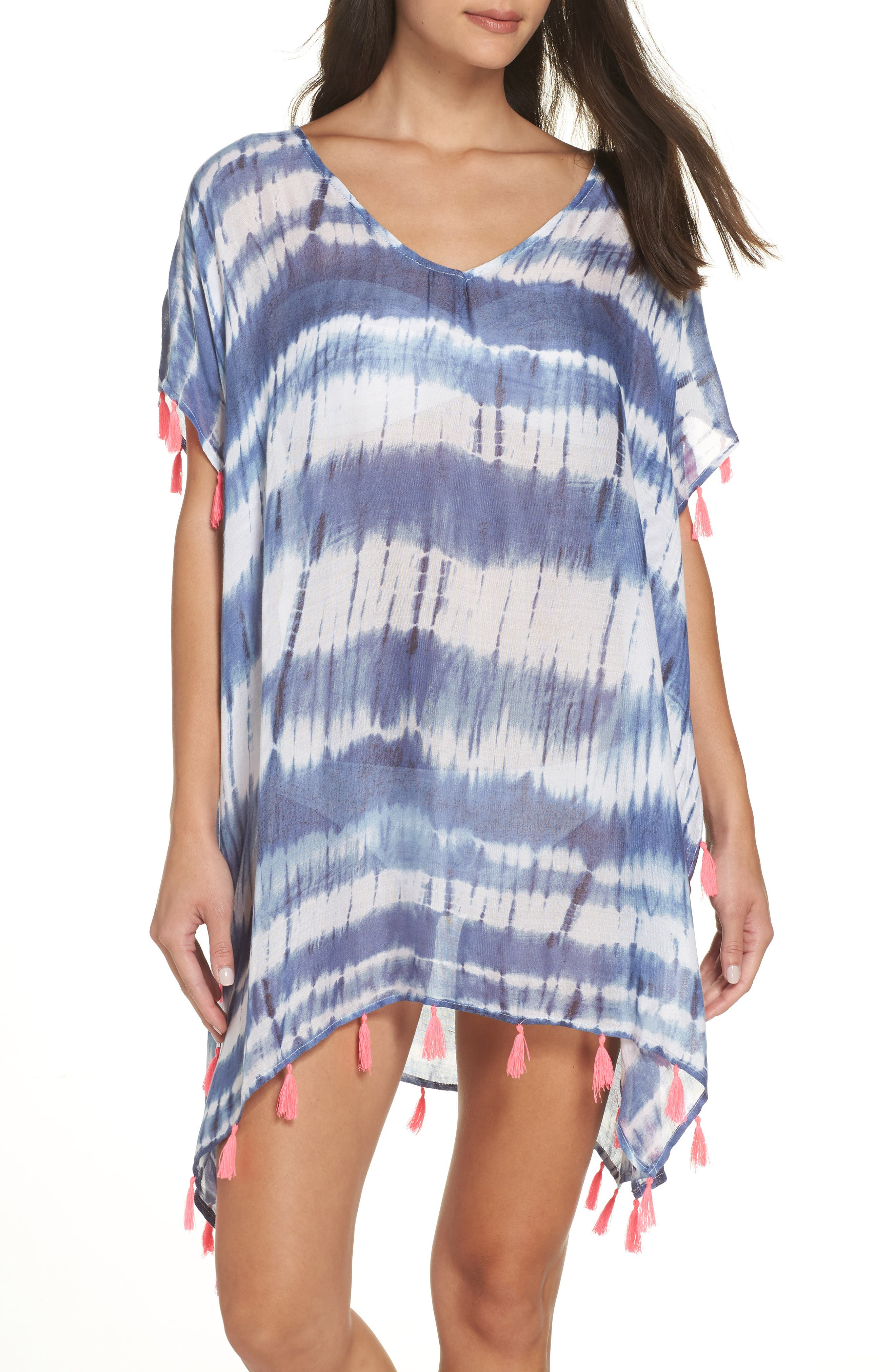 Stripe Tassel Cover-Up Poncho,                         Main,                         color, DEEP MARINE