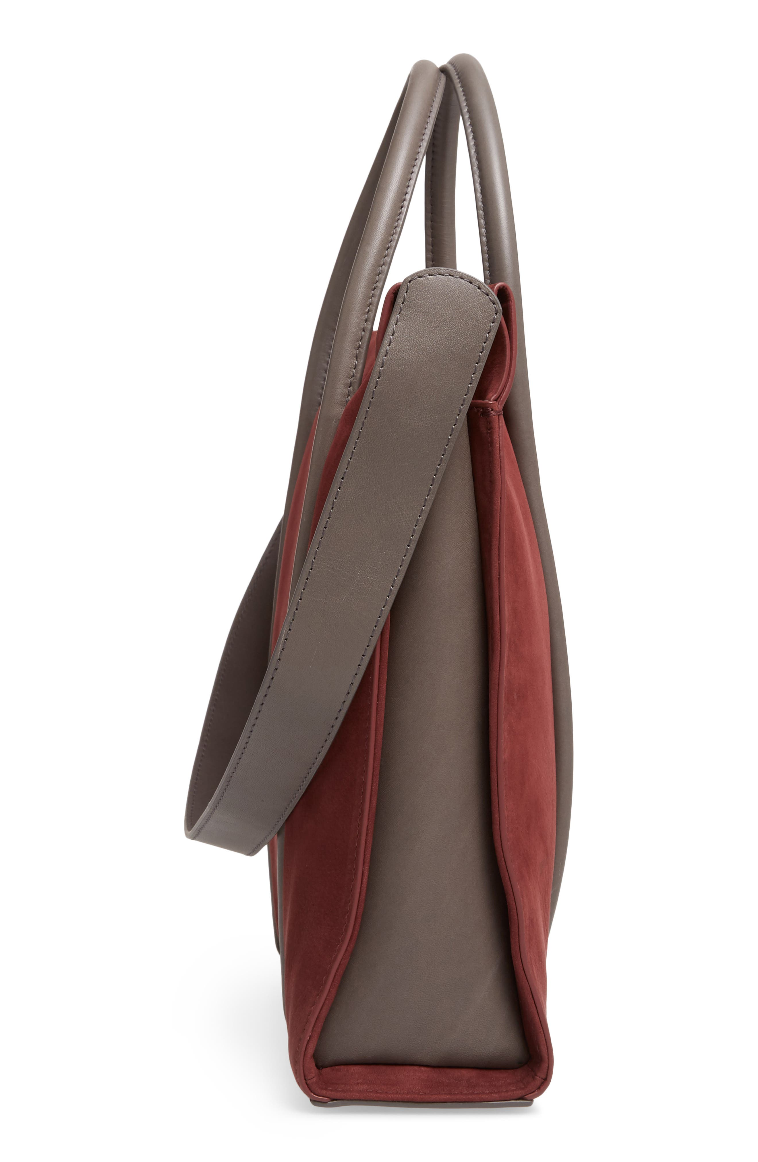 Katryn Recessed Nubuck Leather Satchel,                             Alternate thumbnail 5, color,                             603