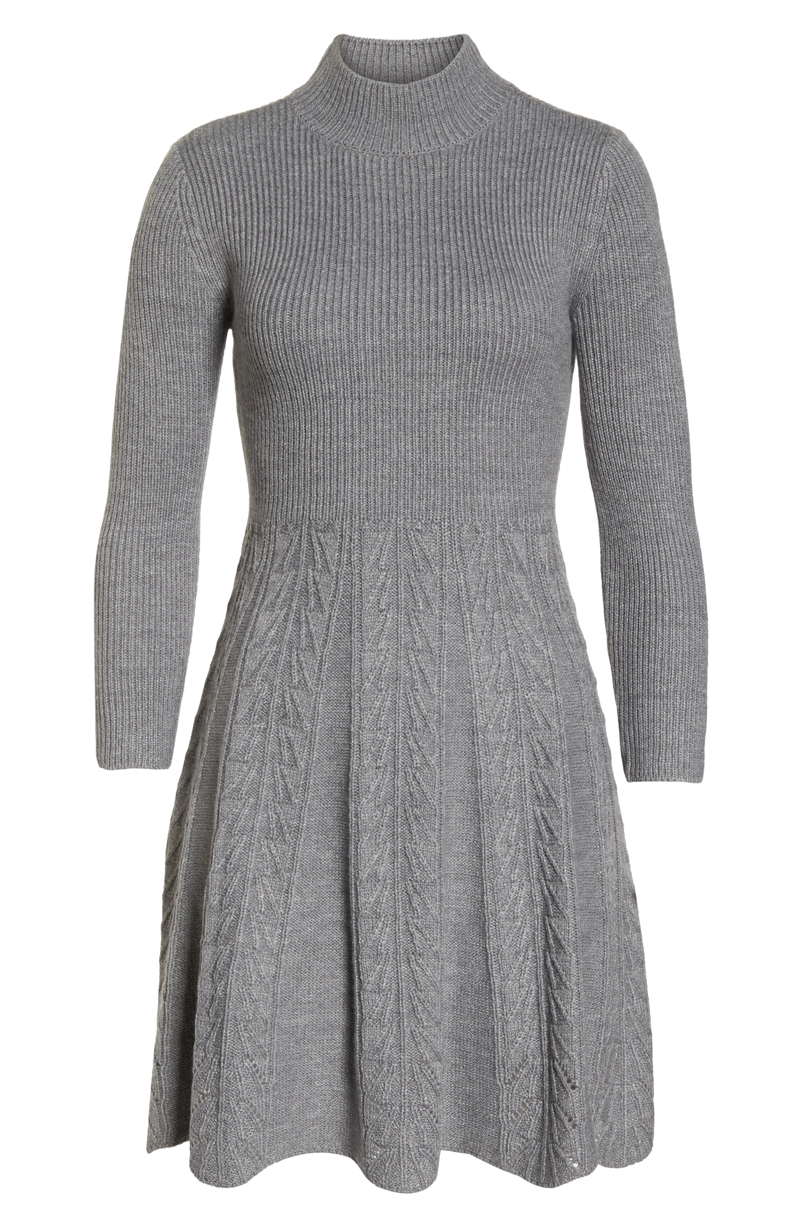 Mock Neck Fit & Flare Sweater Dress,                             Alternate thumbnail 7, color,                             GREY