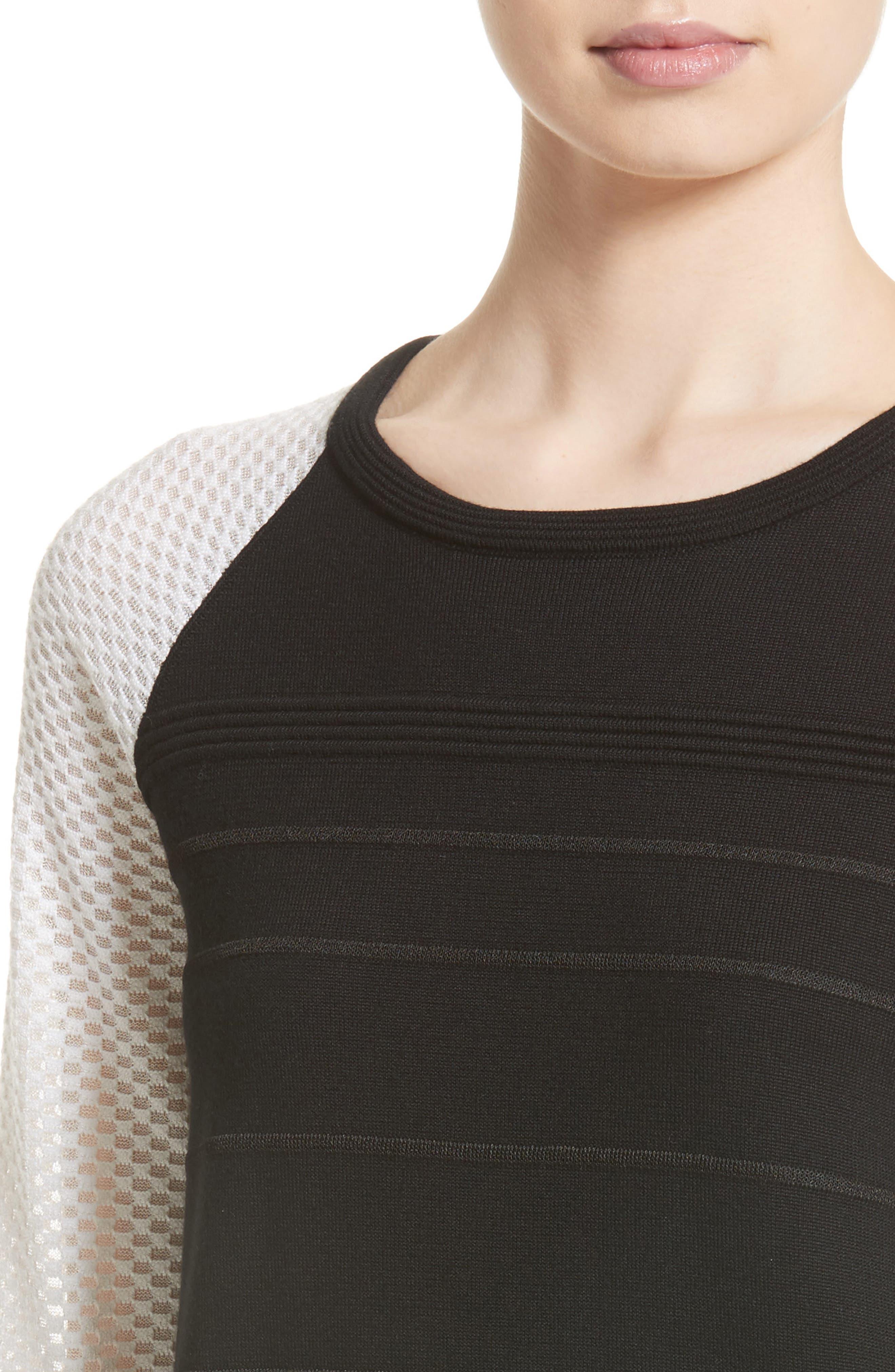 Ottoman Stitch Sweater,                             Alternate thumbnail 4, color,                             001