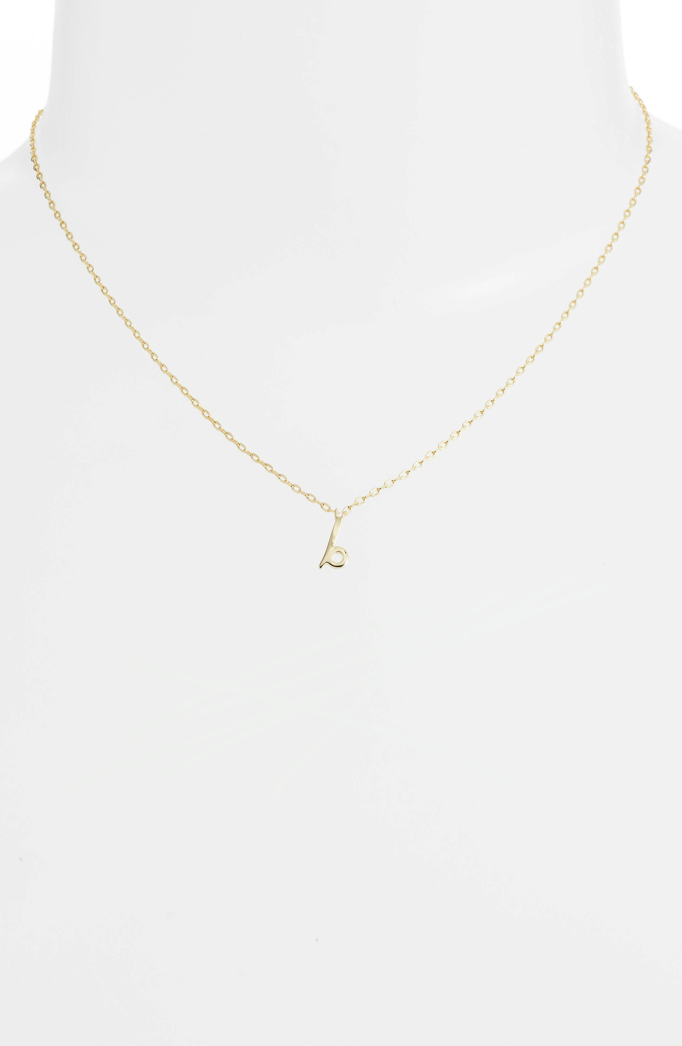 kate spade one in a million initial pendant necklace,                             Alternate thumbnail 2, color,                             B-GOLD