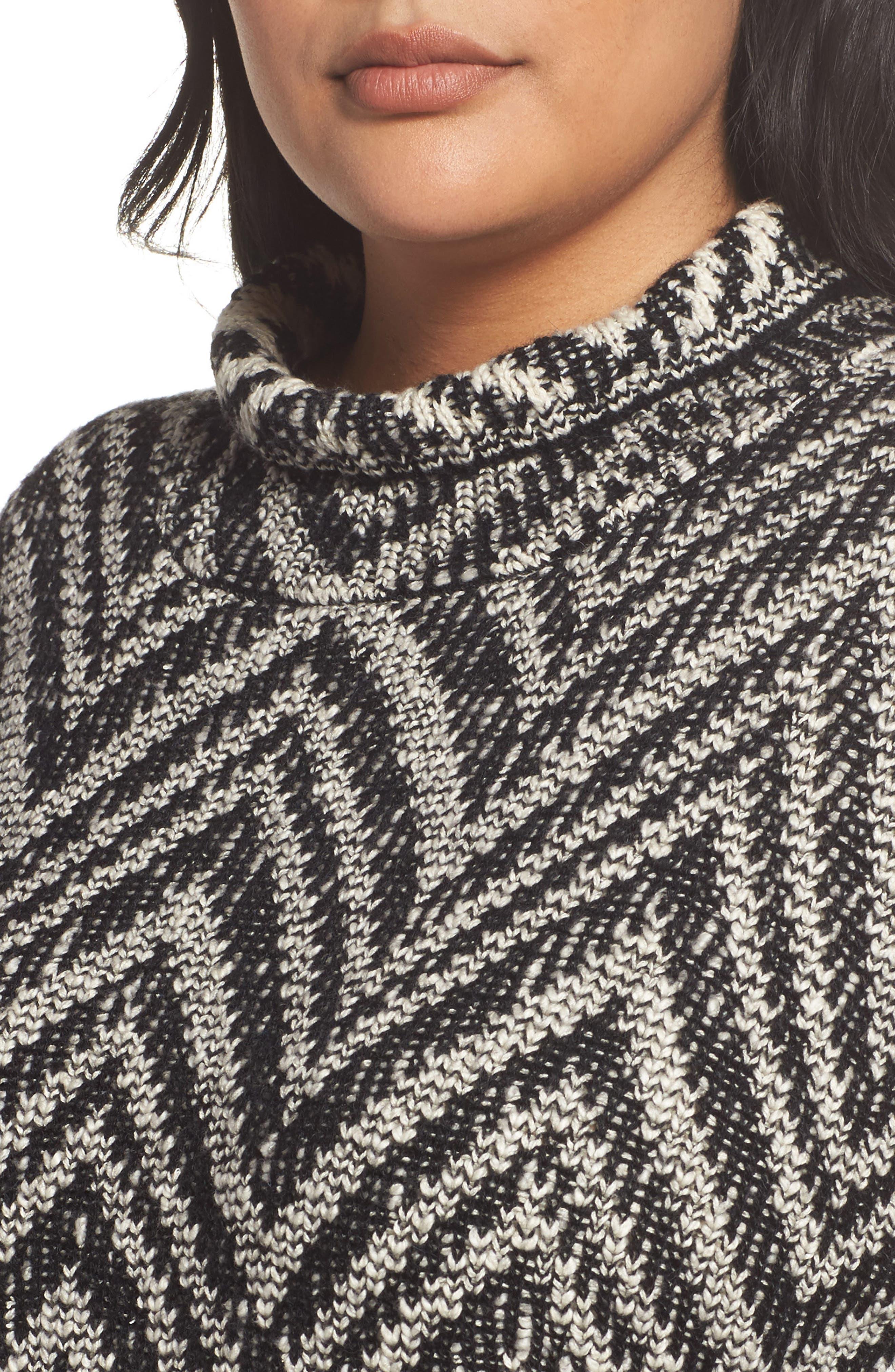 Zigzag Organic Cotton & Alpaca Tunic Sweater,                             Alternate thumbnail 4, color,                             012