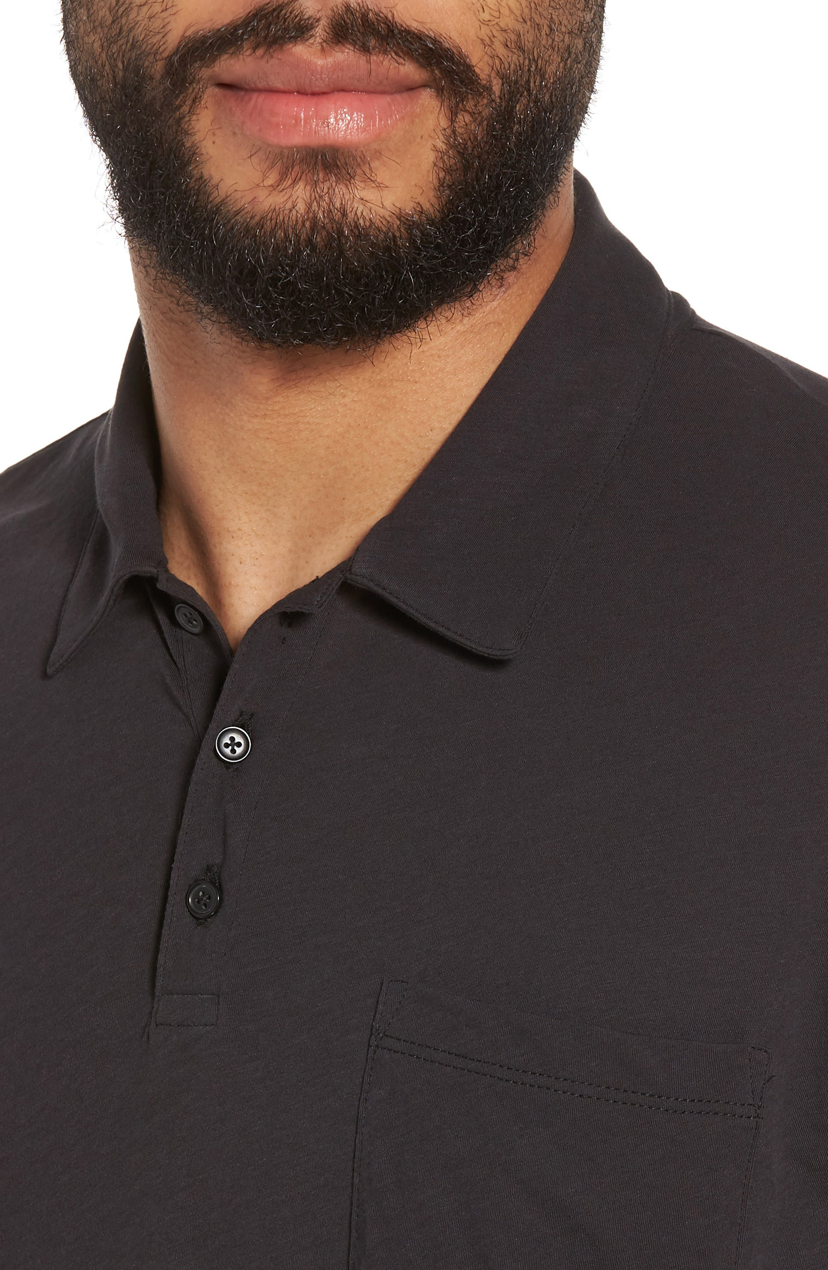 VINCE,                             Cotton Polo Shirt,                             Alternate thumbnail 4, color,                             001
