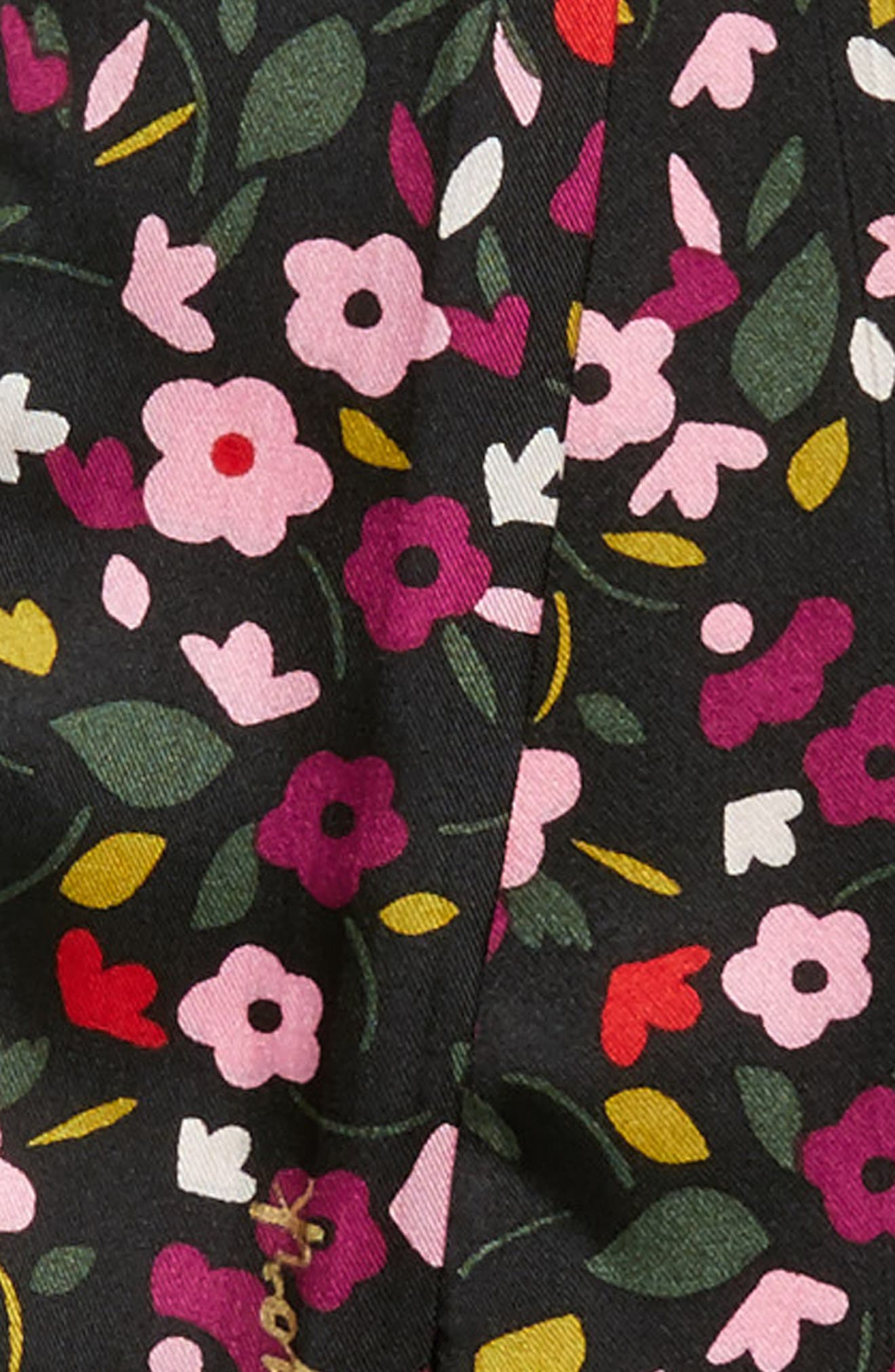 bohemian floral silk skinny scarf,                             Alternate thumbnail 4, color,                             001