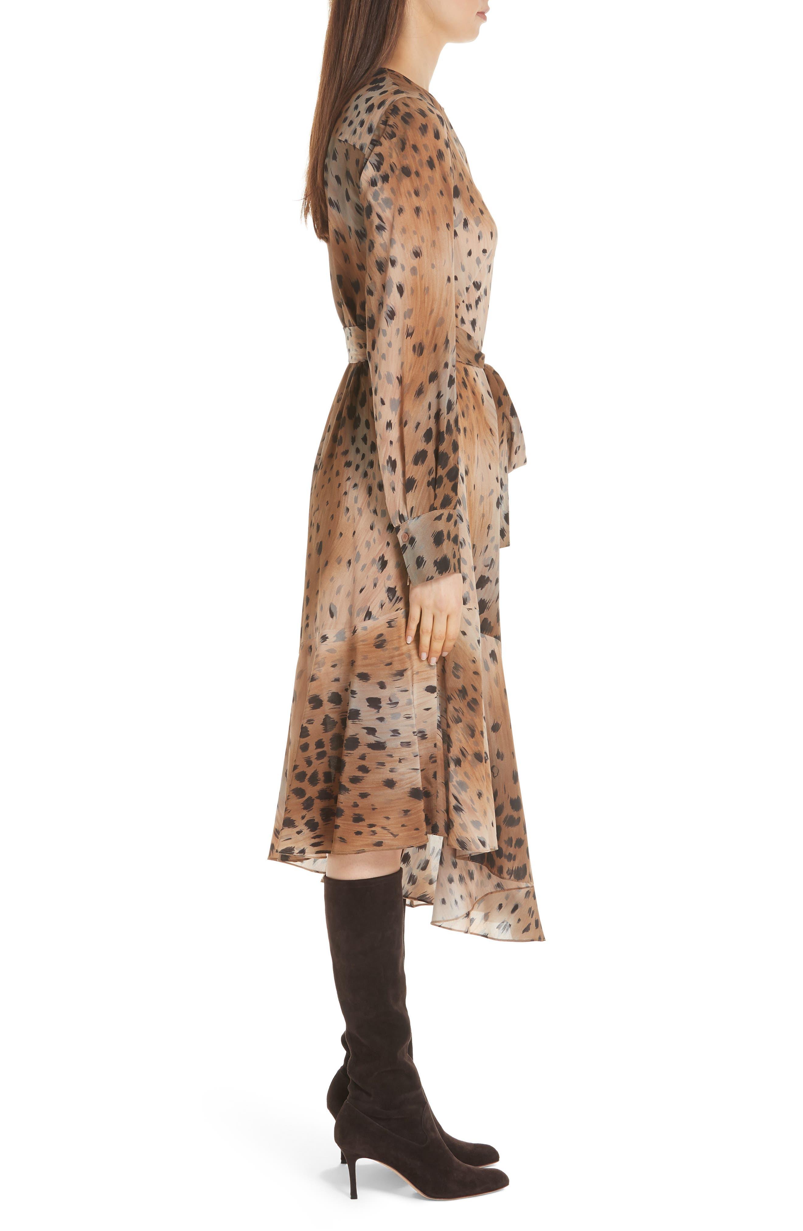 Delancy Silk Dress,                             Alternate thumbnail 3, color,                             SADDLE MULTI