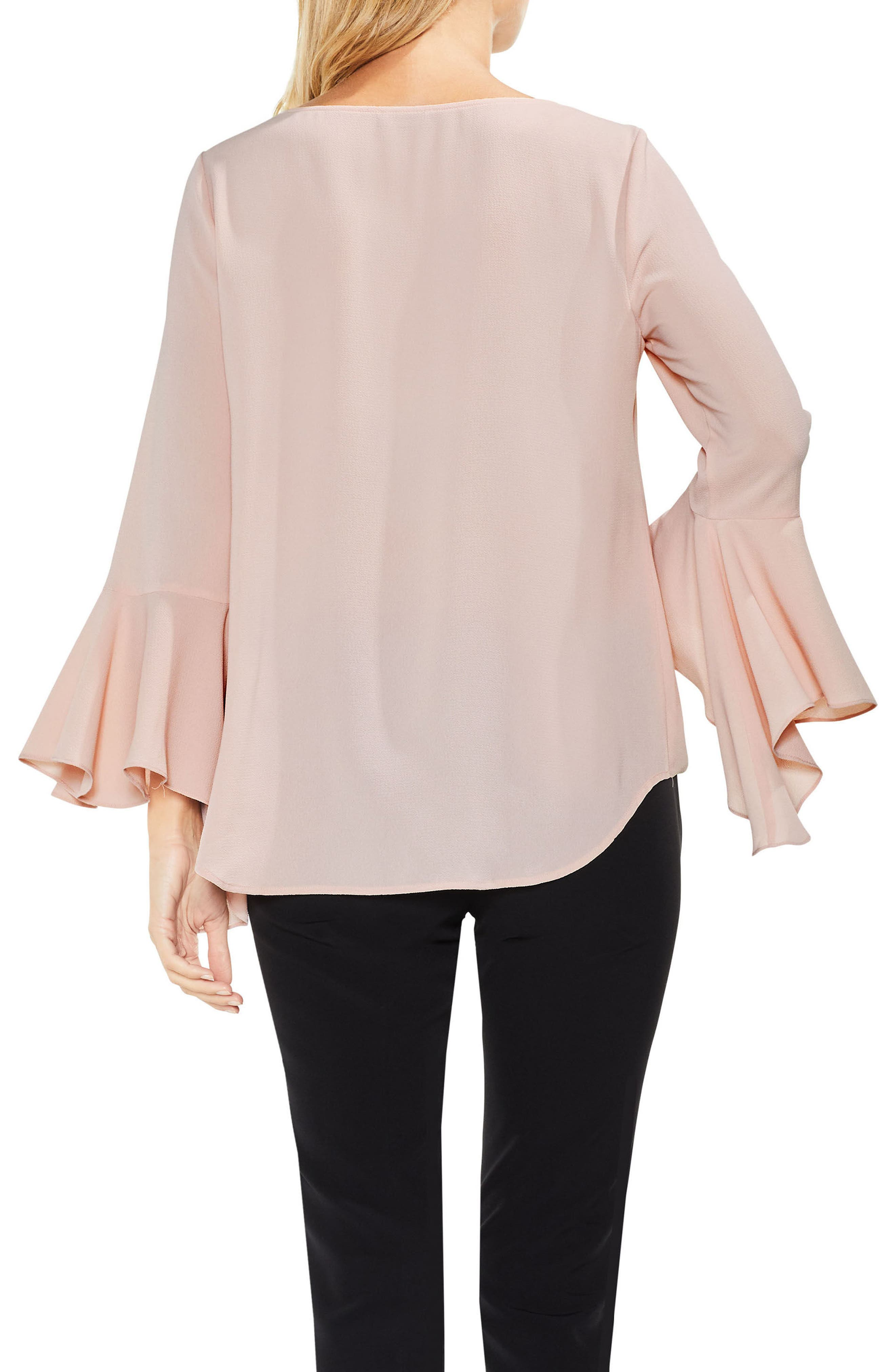 Bell Cuff Foldover Blouse,                             Alternate thumbnail 6, color,