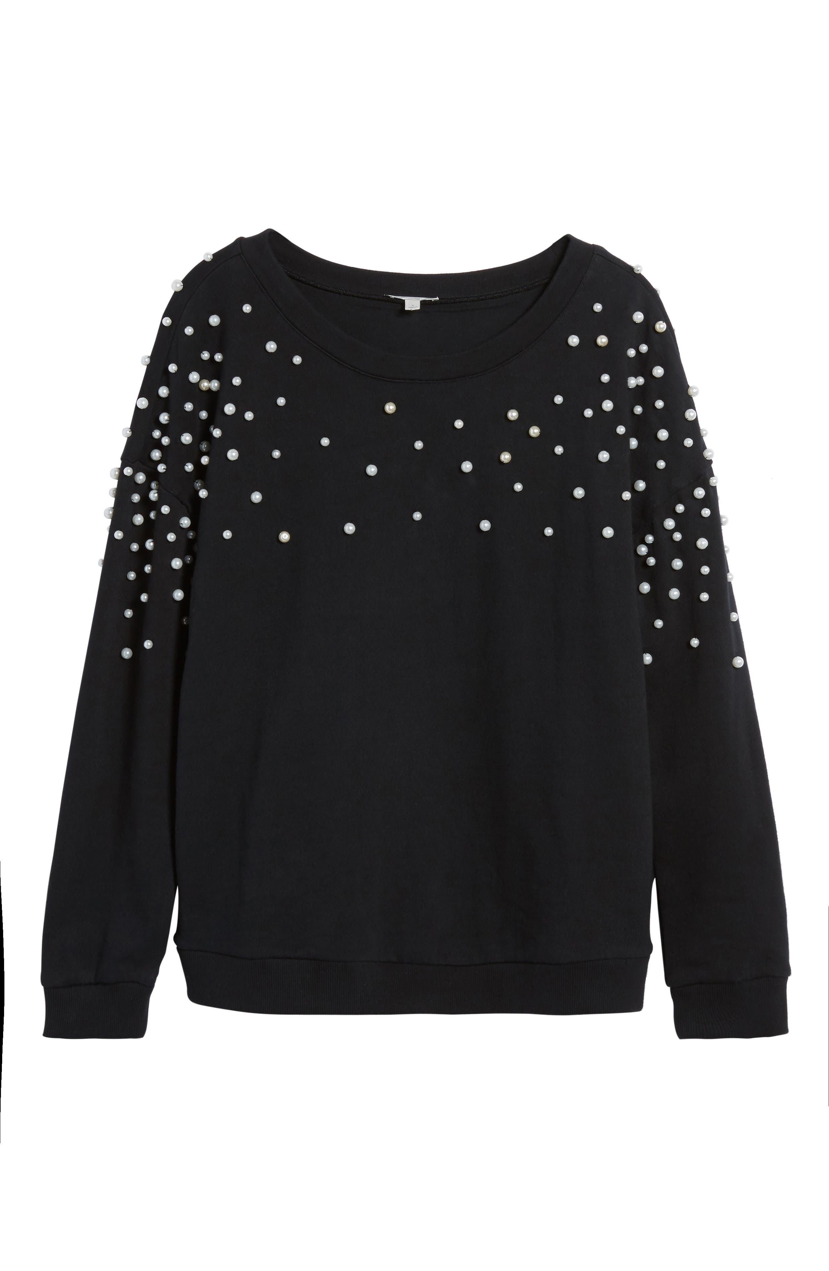 Beaded Sweatshirt,                             Alternate thumbnail 6, color,                             001
