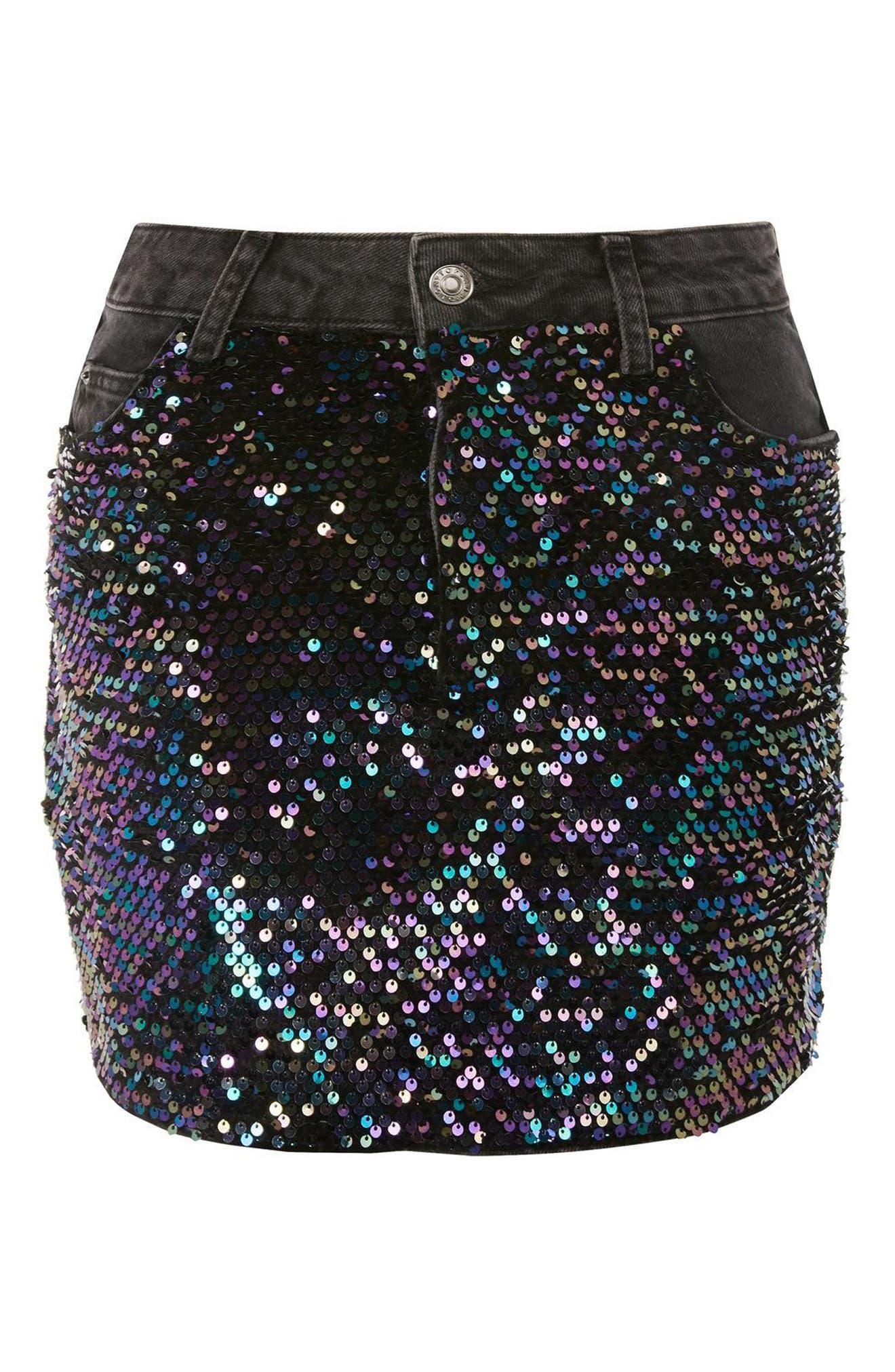 Beetle Sequin Denim Miniskirt,                             Alternate thumbnail 4, color,