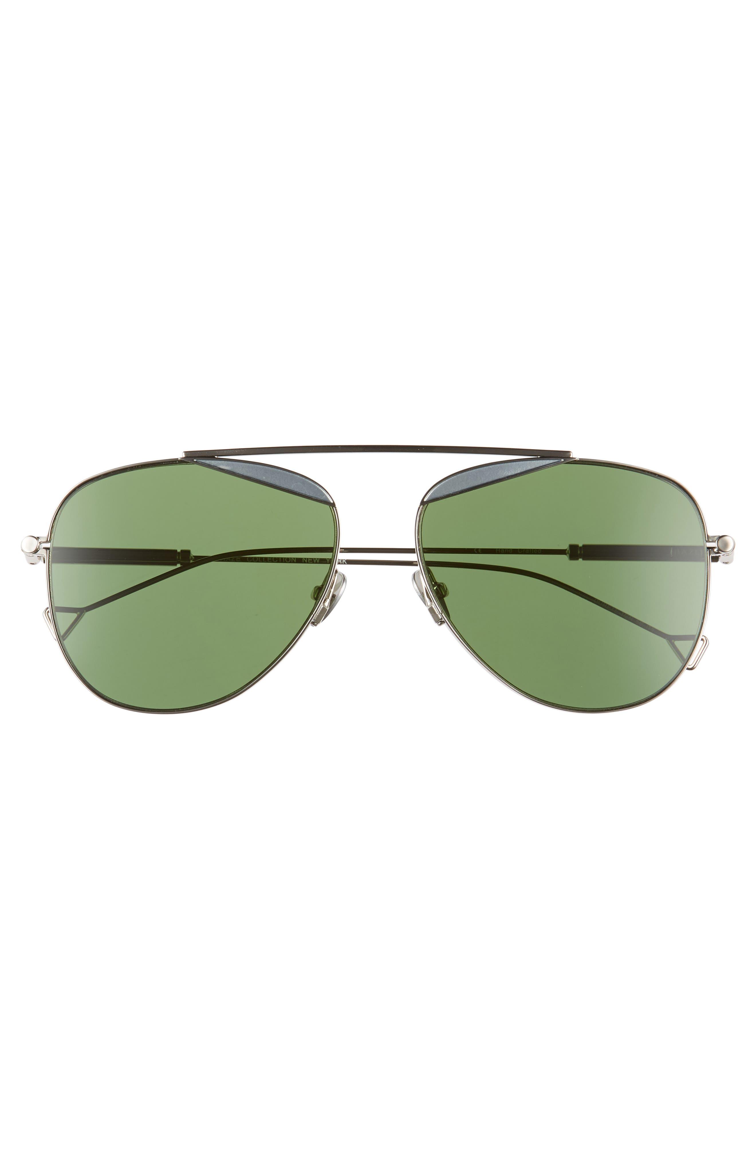 The Durete 58mm Aviator Sunglasses,                             Alternate thumbnail 3, color,                             BOTTLE GREEN