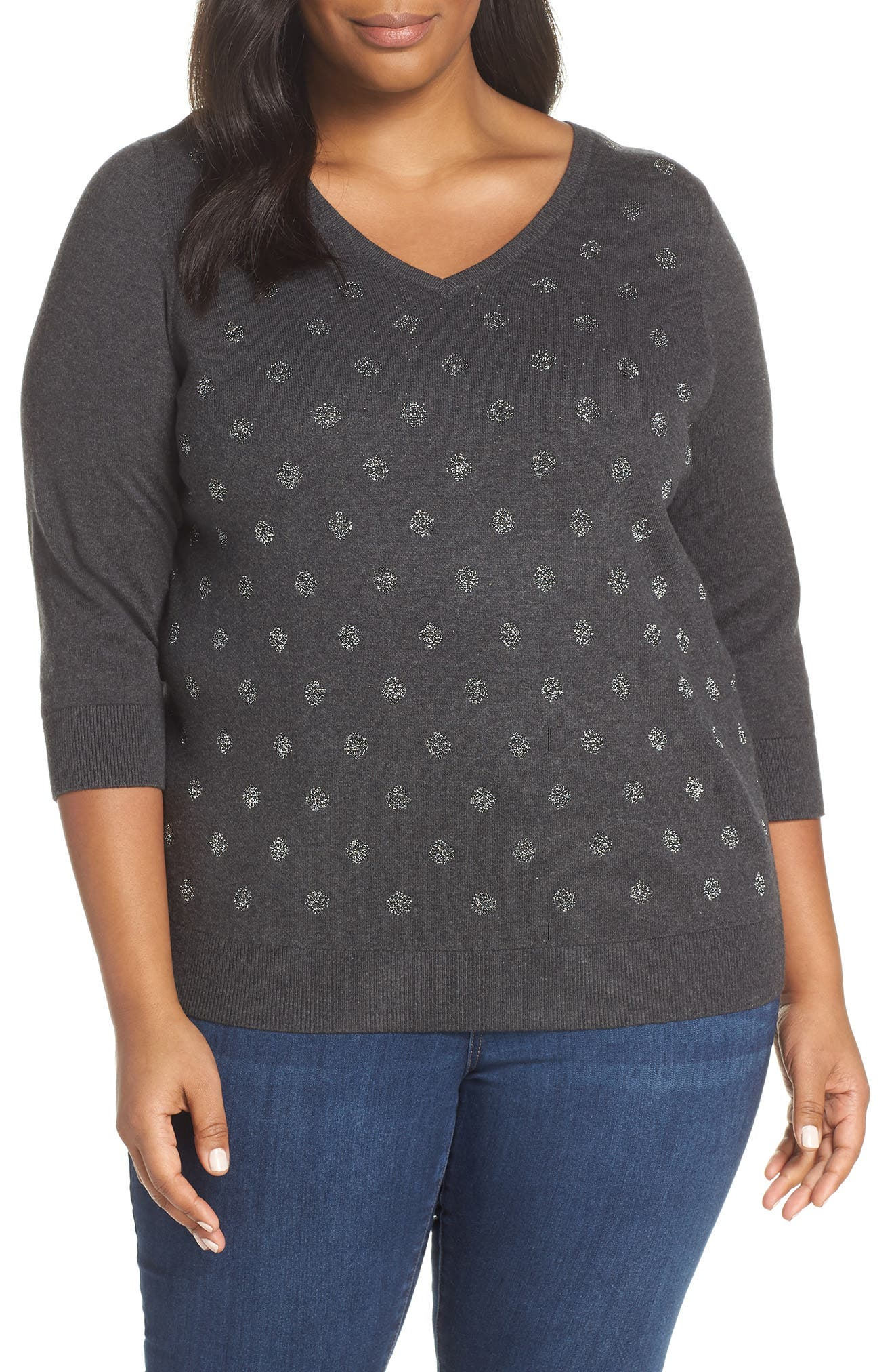 Metalic Dot Pullover,                         Main,                         color, GREY DARK CHARCOAL HEATHER