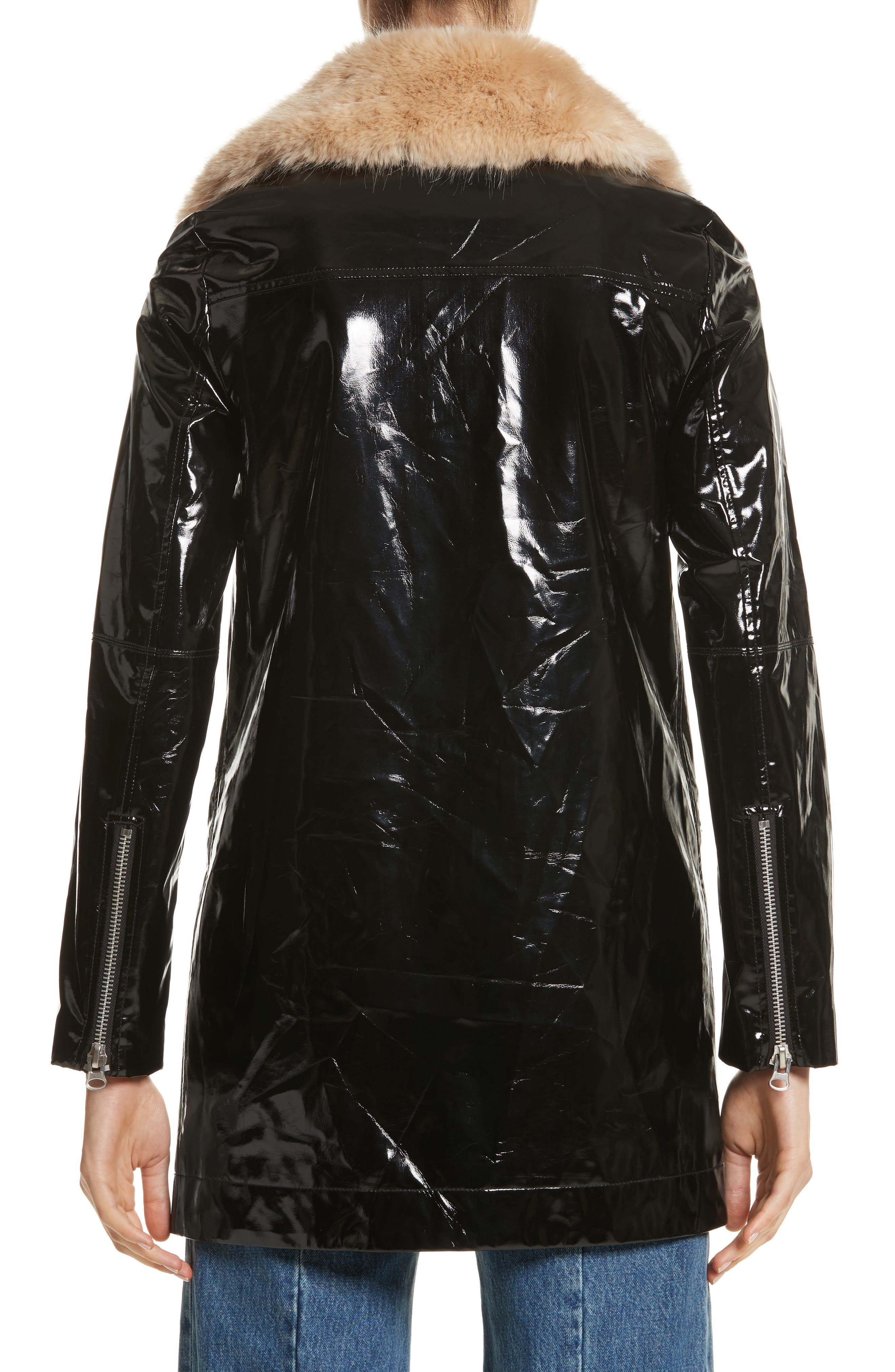 Olwen Faux Leather Long Biker Coat with Faux Fur Collar,                             Alternate thumbnail 3, color,                             001