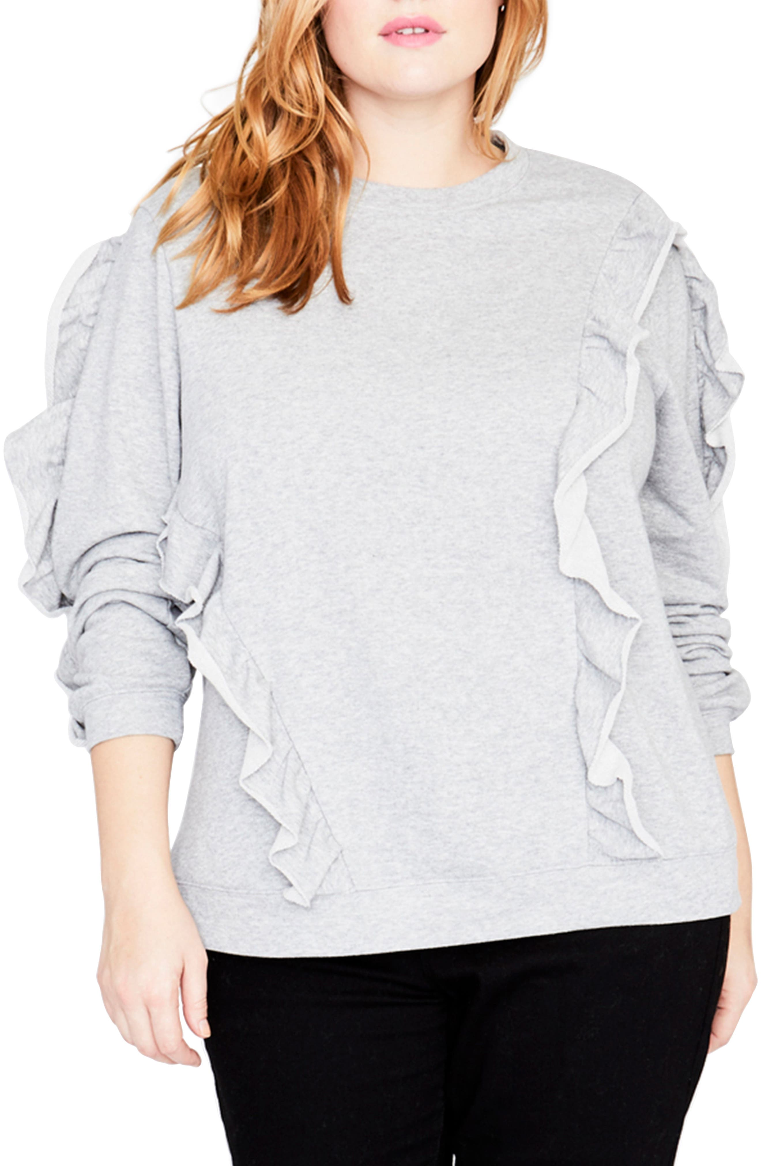 Ruffle Sweatshirt,                         Main,                         color, HEATHER GREY