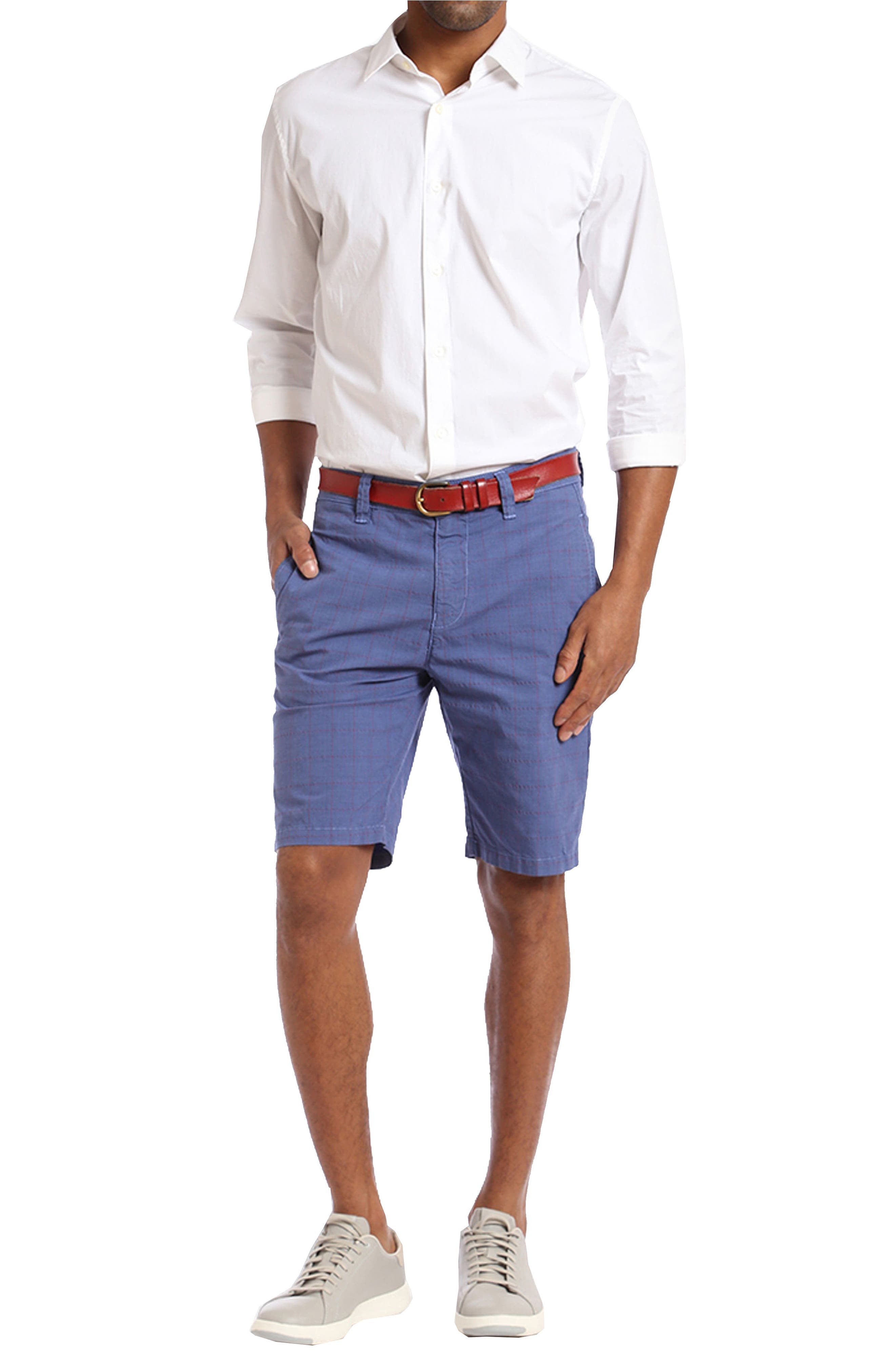 Nevada Twill Shorts,                             Alternate thumbnail 4, color,                             INDIGO PLAID