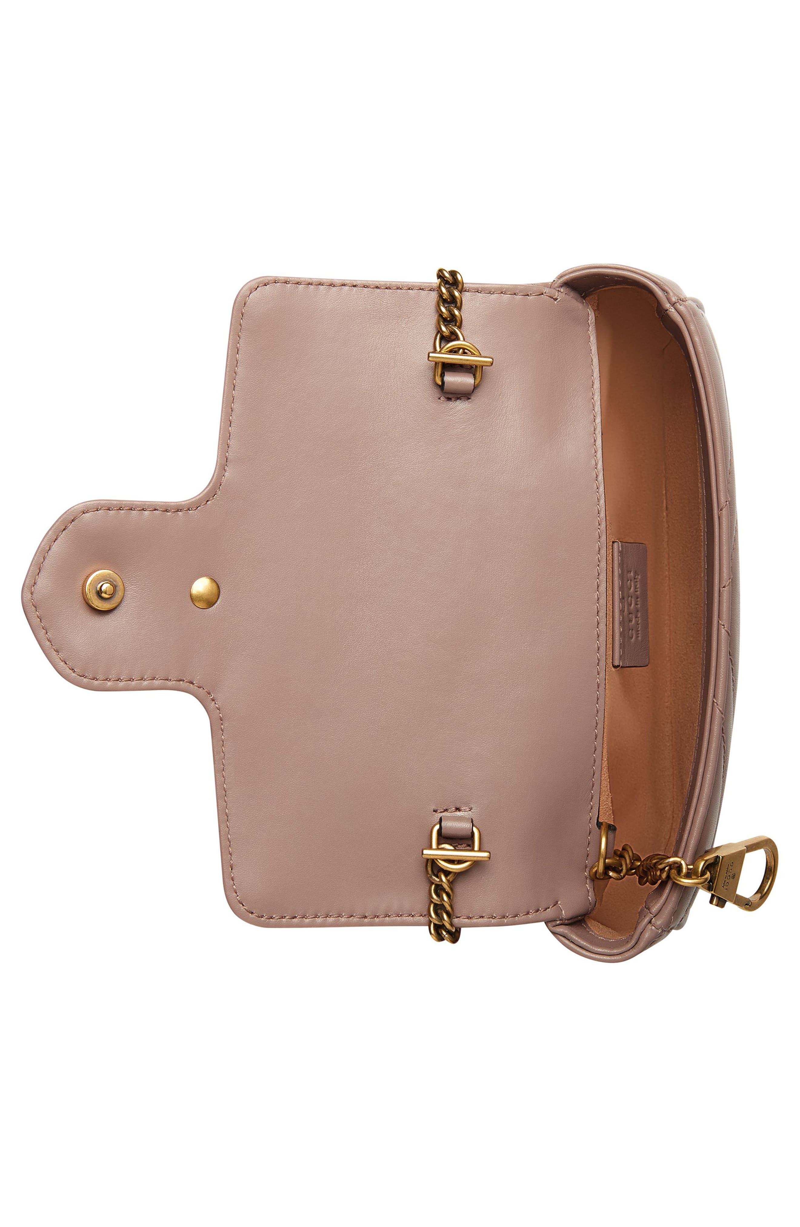 Supermini GG Marmont 2.0 Matelassé Leather Shoulder Bag,                             Alternate thumbnail 4, color,                             PORCELAIN ROSE