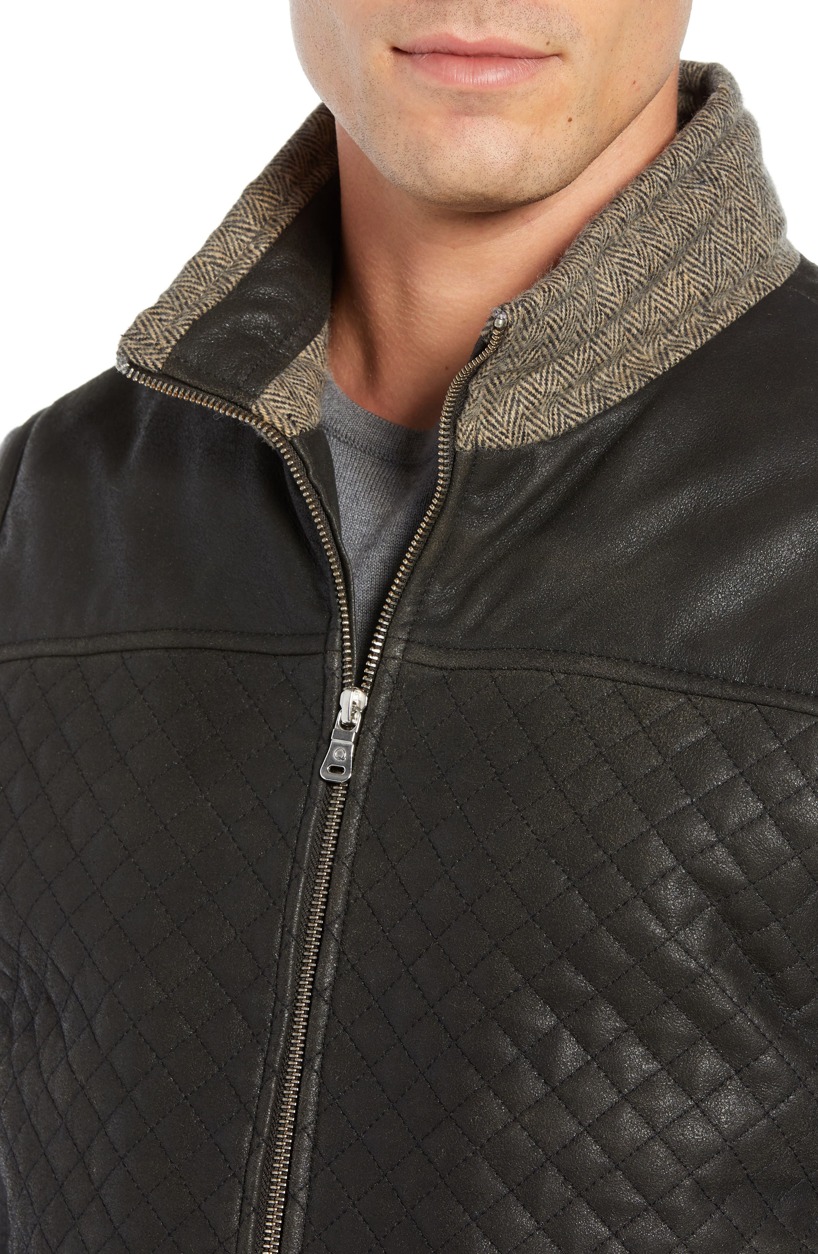 Quilted Leather & Wool Vest,                             Alternate thumbnail 4, color,                             001