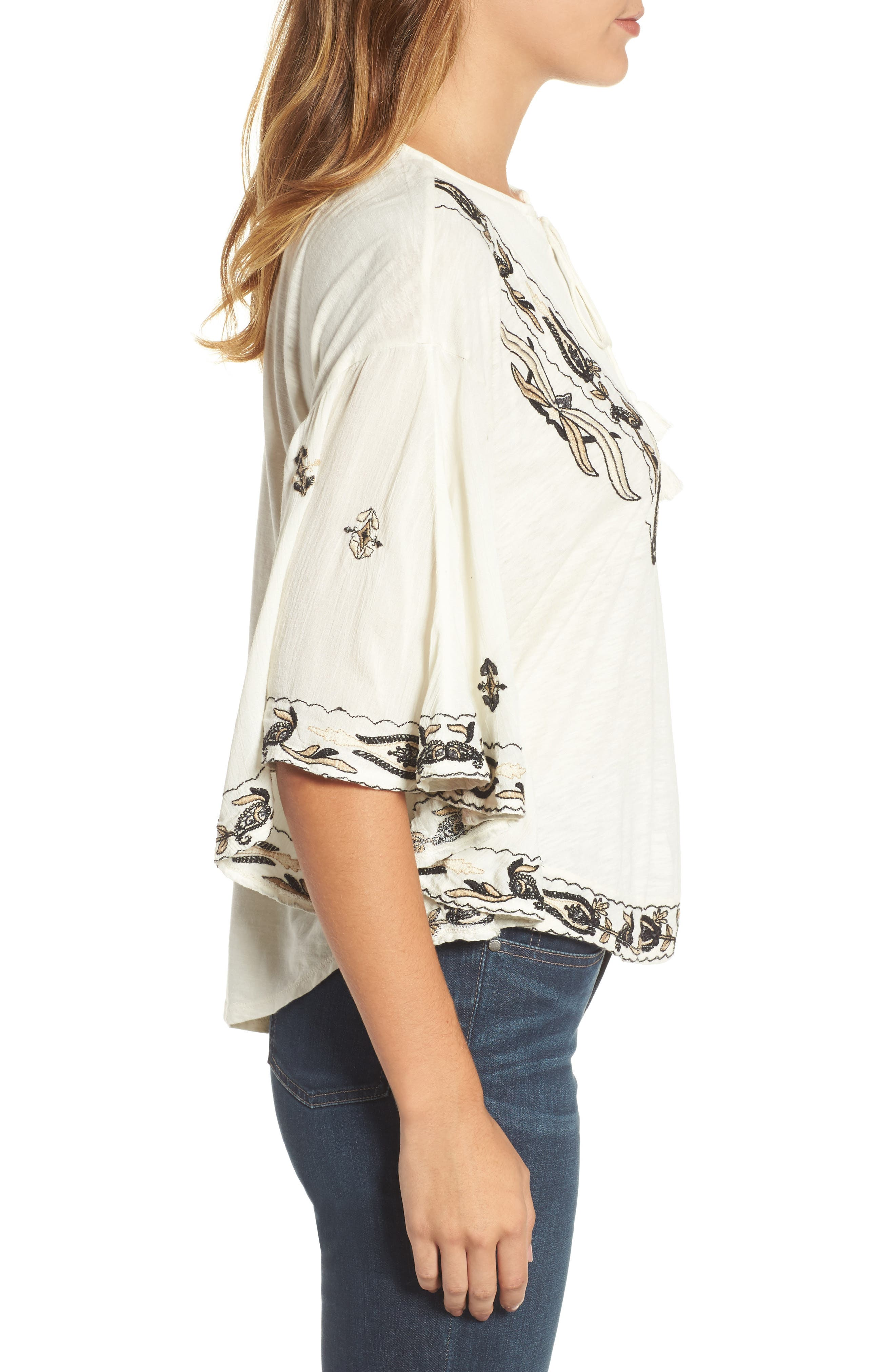 Embroidered Lace Up Peasant Top,                             Alternate thumbnail 6, color,