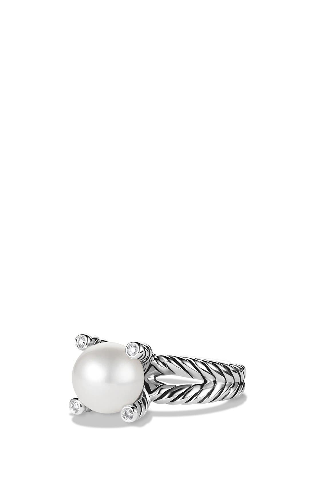 Cable Pearl Ring with Diamonds,                         Main,                         color, PEARL
