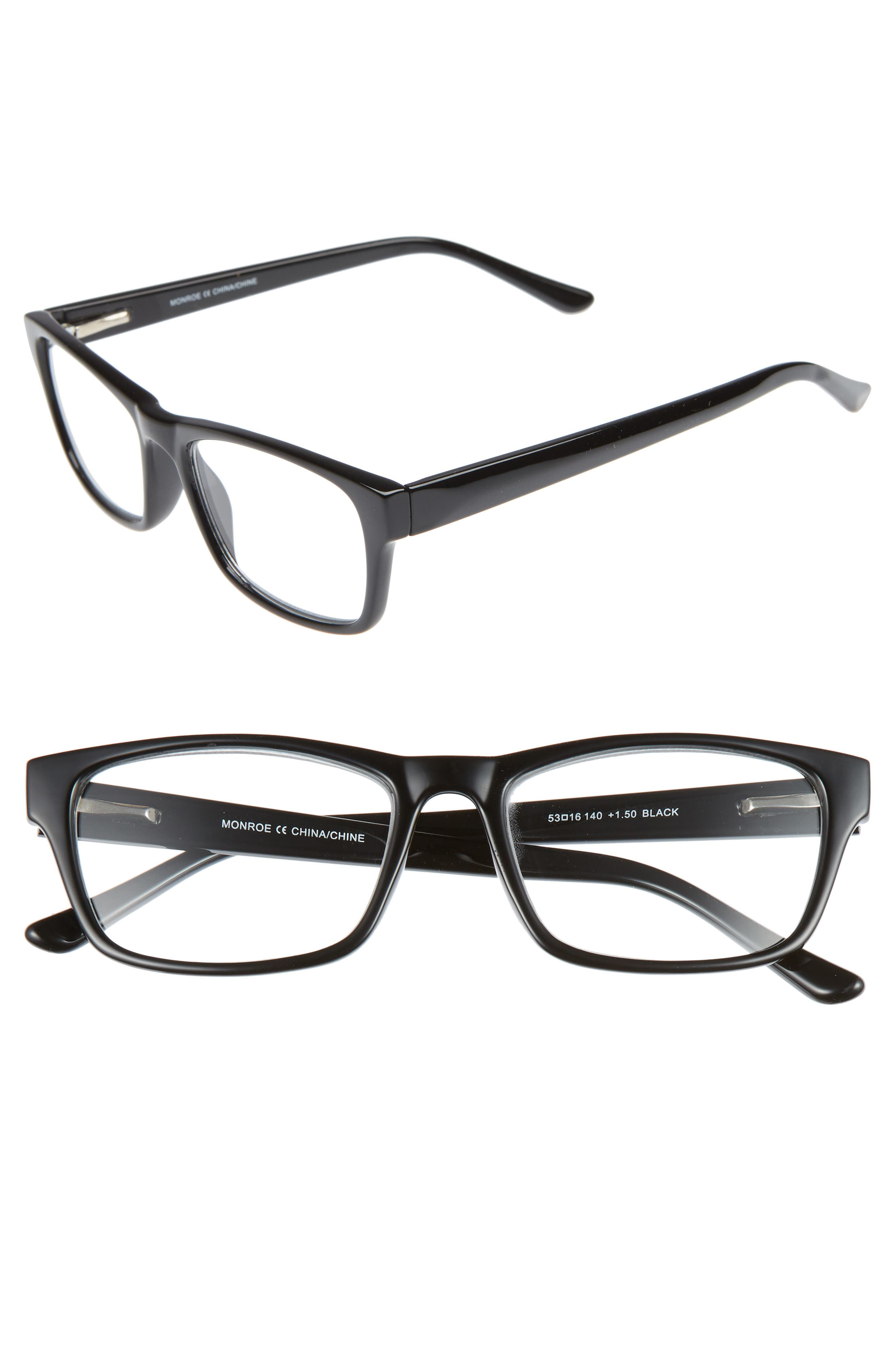 Monroe 53mm Reading Glasses,                         Main,                         color, BLACK
