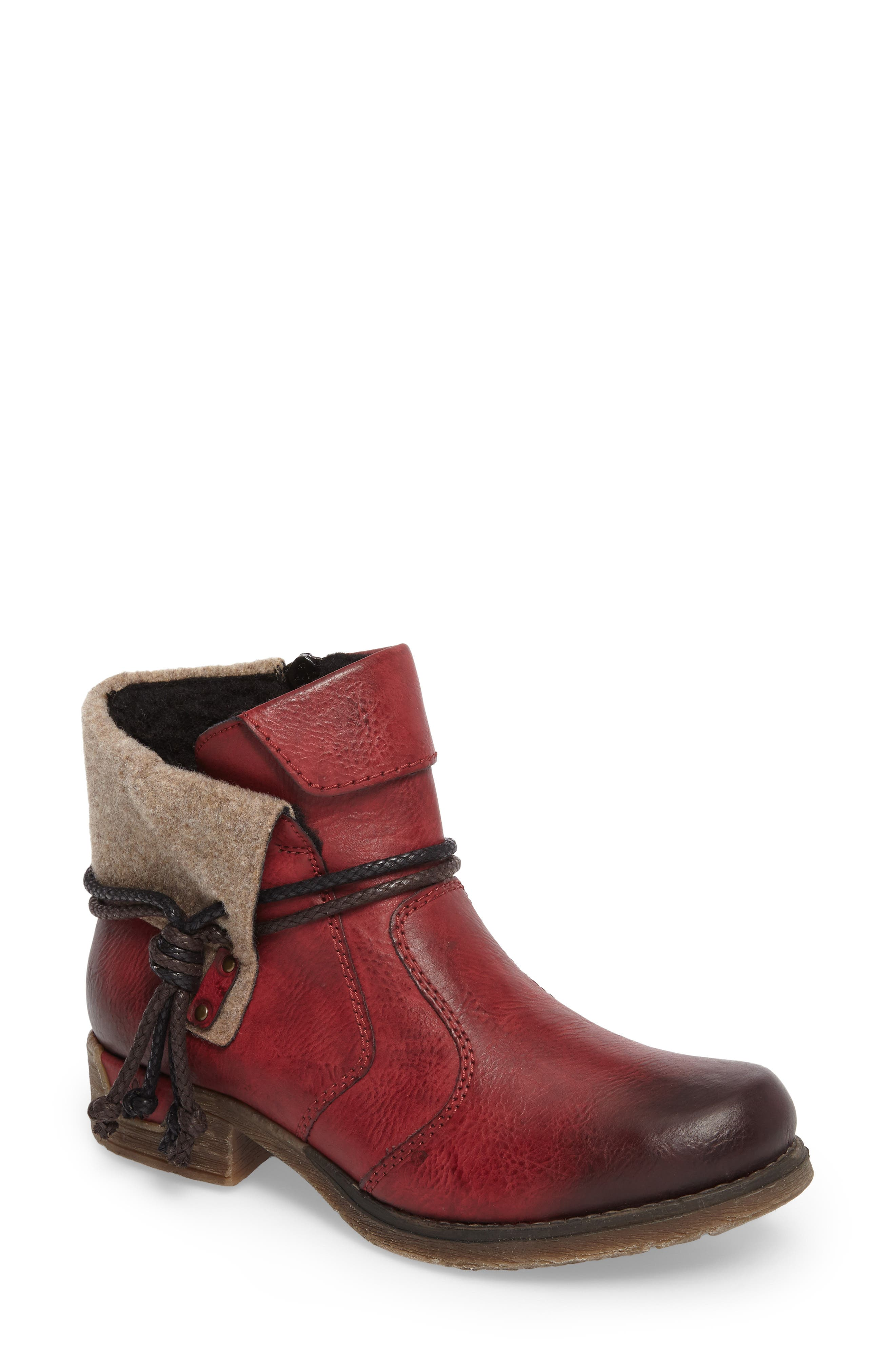 'Fee 93' Cuffed Shaft Bootie,                         Main,                         color, WINE FAUX LEATHER