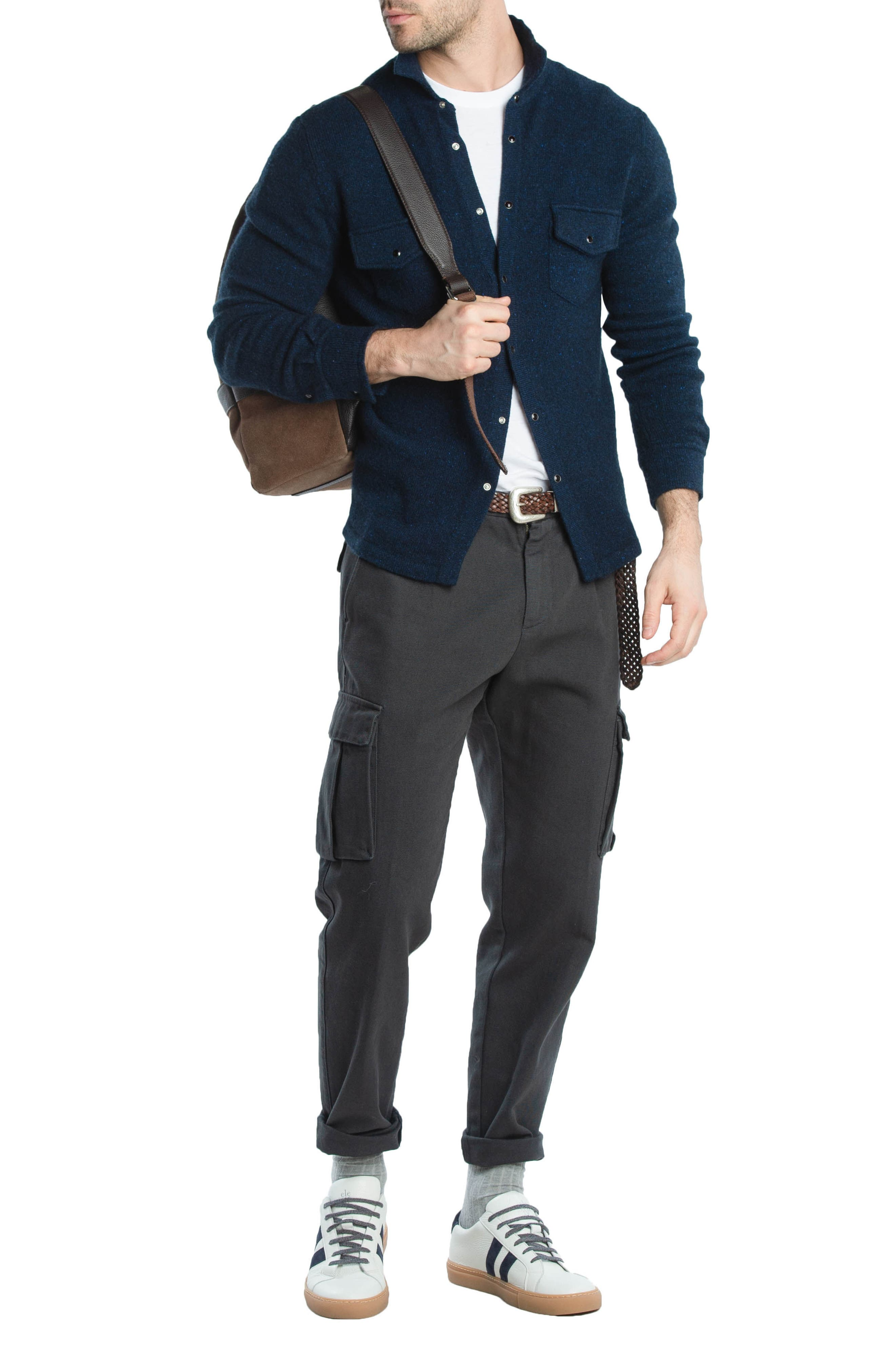 Stretch Canvas Cargo Pants,                             Alternate thumbnail 8, color,                             CHARCOAL
