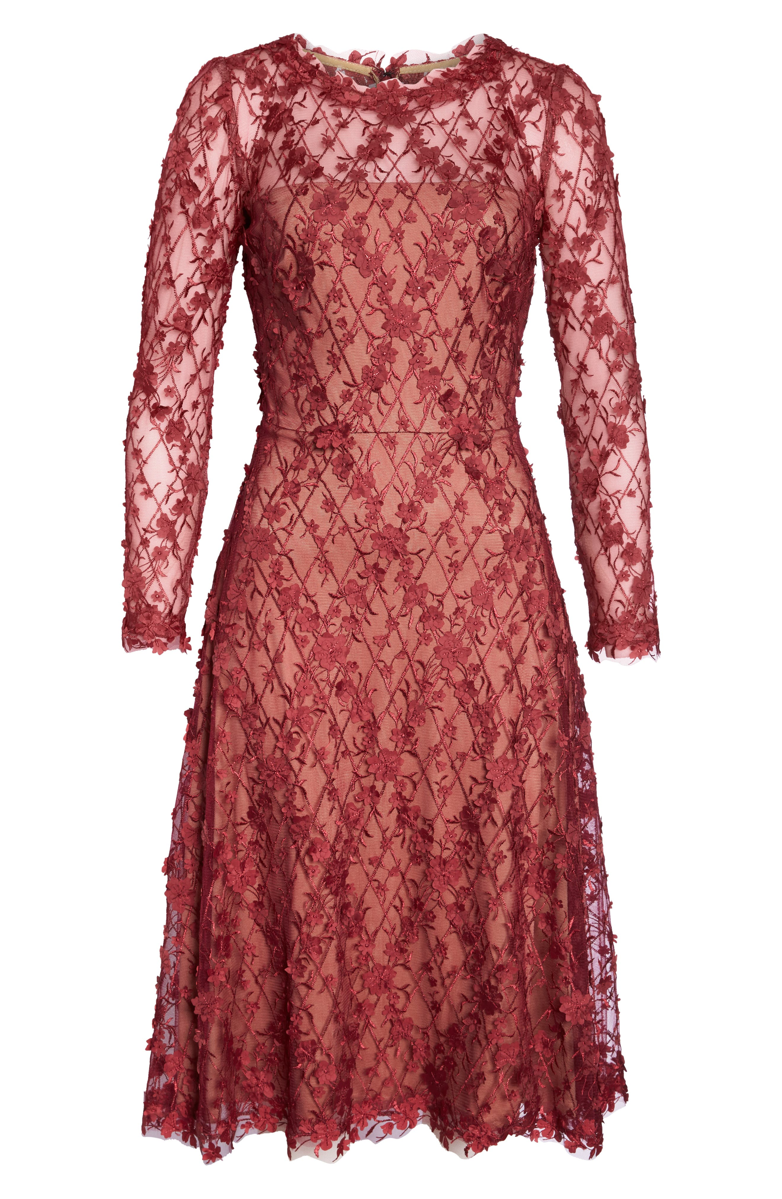 3D Flowers Lace Dress,                             Alternate thumbnail 6, color,                             ROSEWOOD/ NUDE