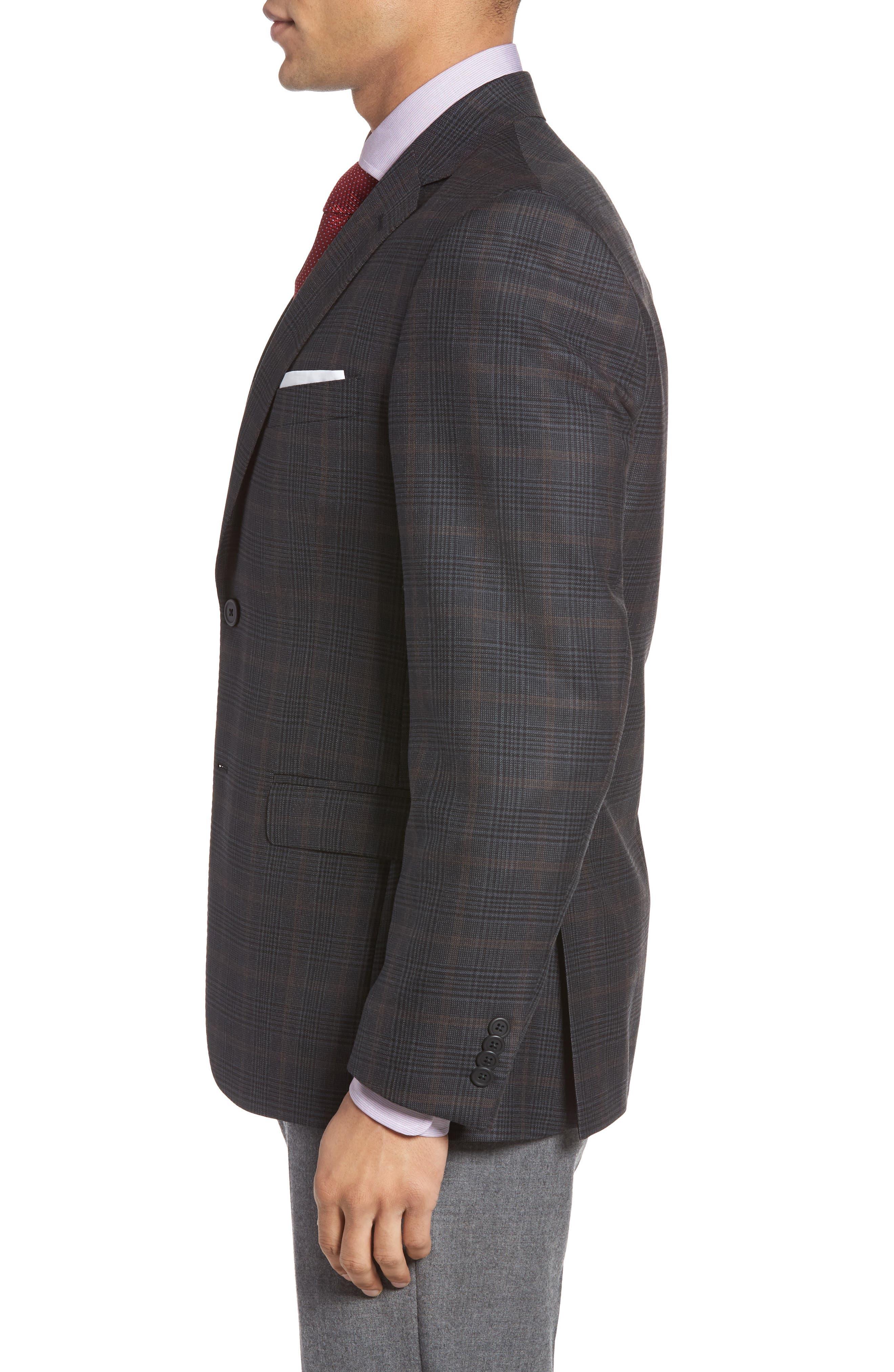 Classic Fit Plaid Wool Sport Coat,                             Alternate thumbnail 3, color,                             021