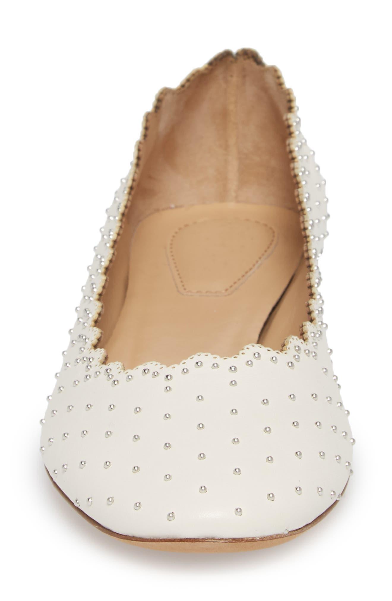Lauren Studded Ballet Flat,                             Alternate thumbnail 4, color,                             WHITE