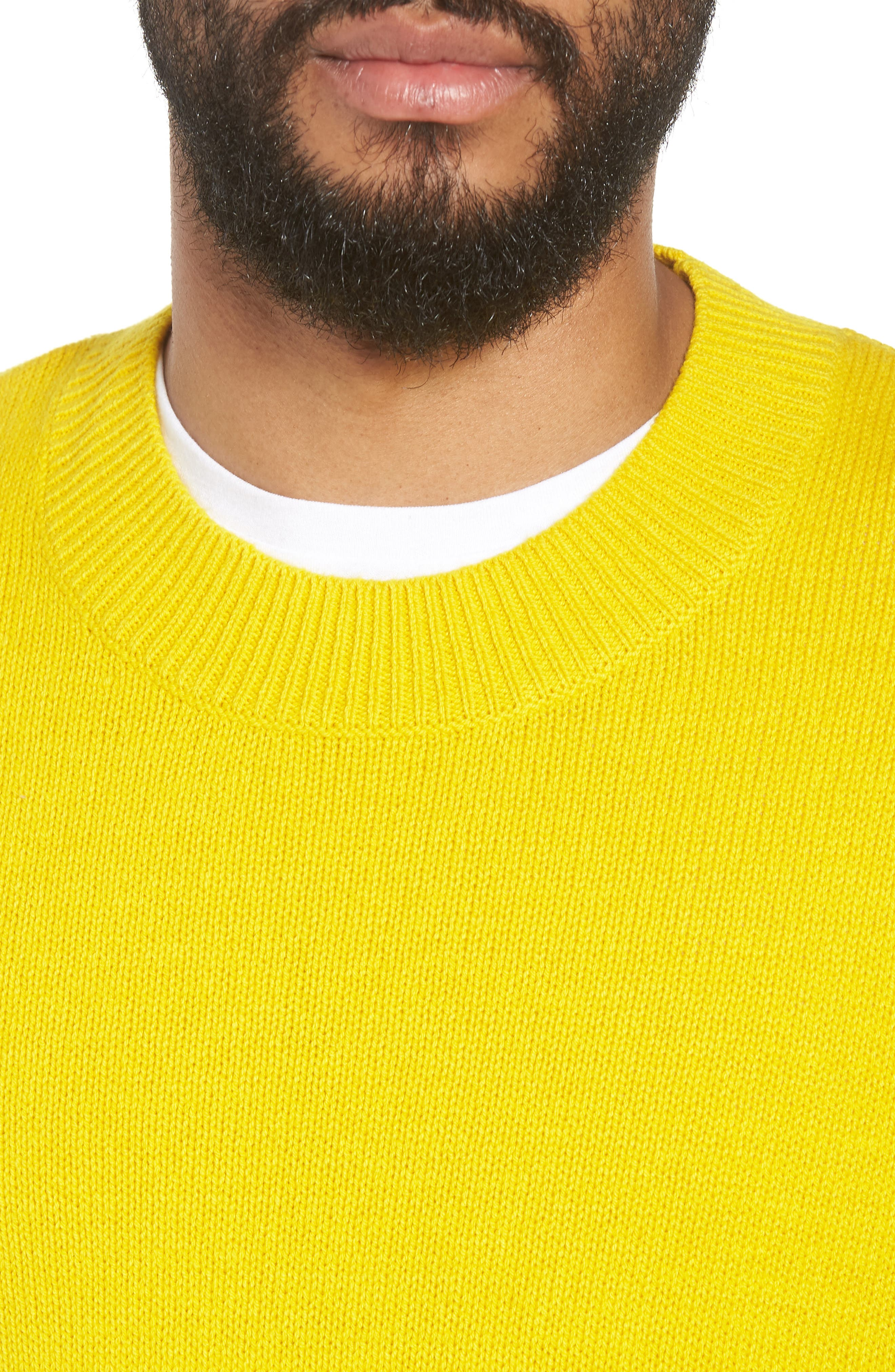 Crewneck Sweater,                             Alternate thumbnail 4, color,                             YELLOW SULPHUR