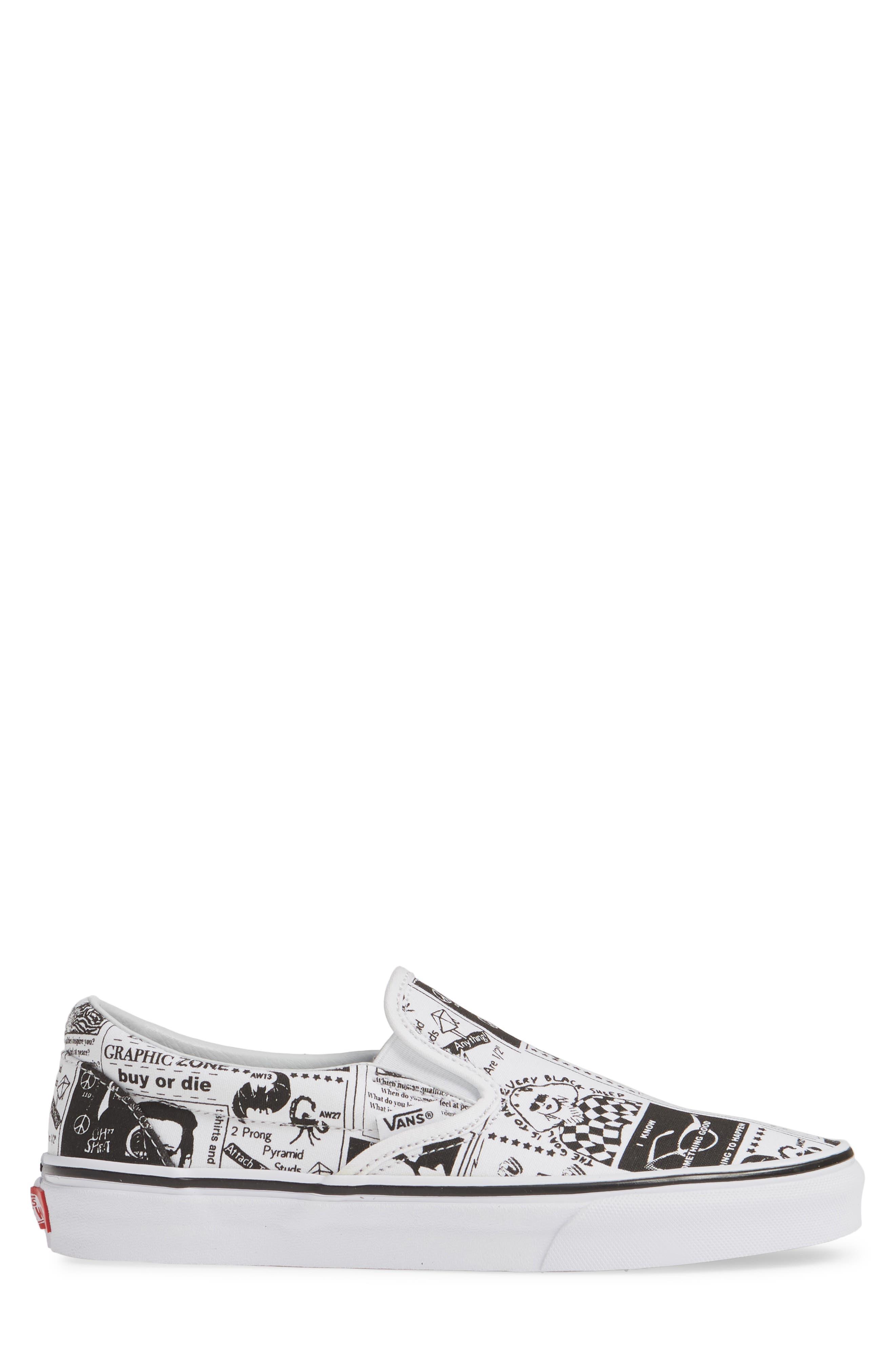 VANS,                             x Ashley Williams Print Classic Slip-On Sneaker,                             Alternate thumbnail 3, color,                             100