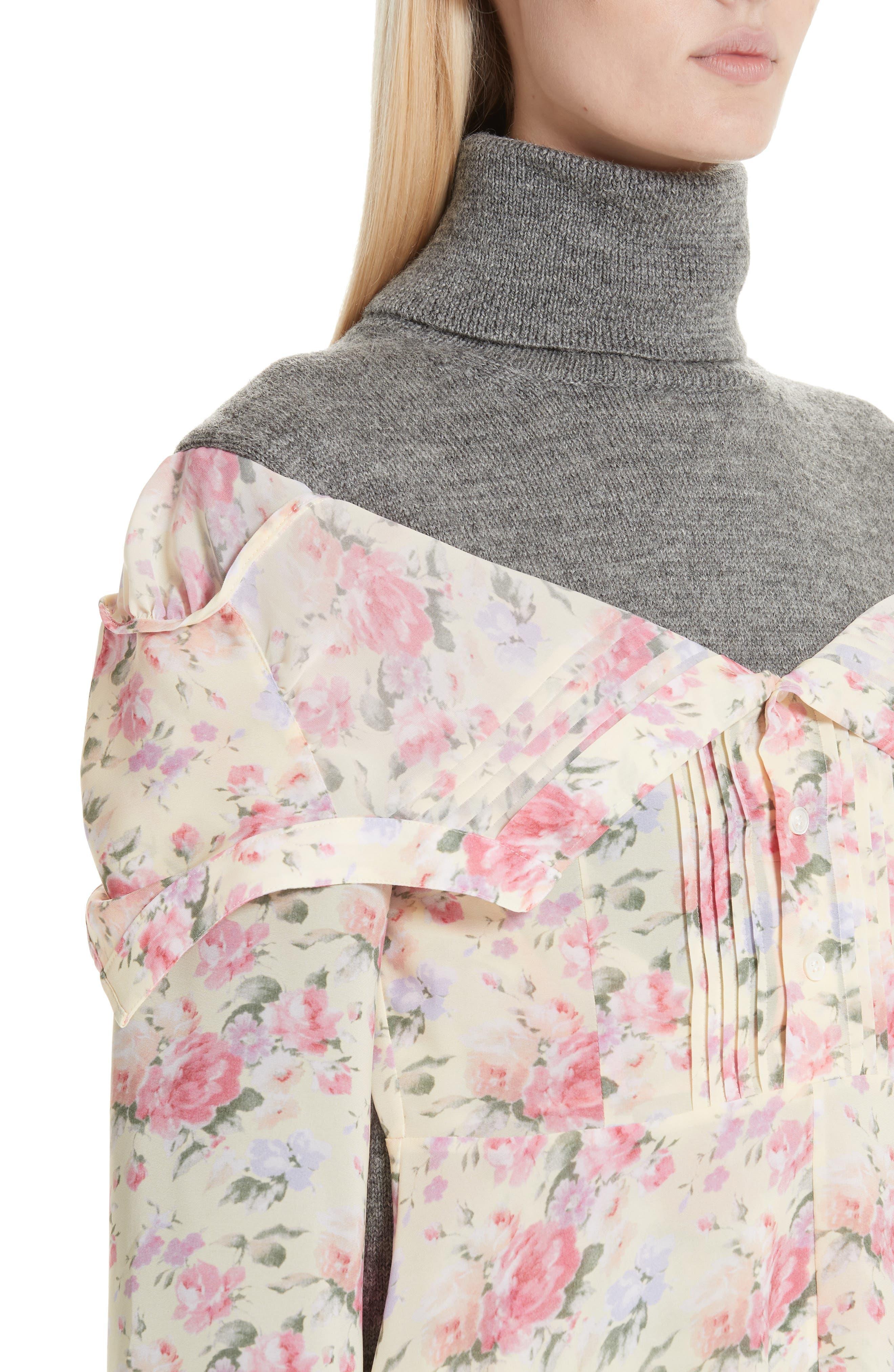 Mixed Media Floral Turtleneck Dress,                             Alternate thumbnail 4, color,                             YELLOW/ PINK/ PPL/ GREY
