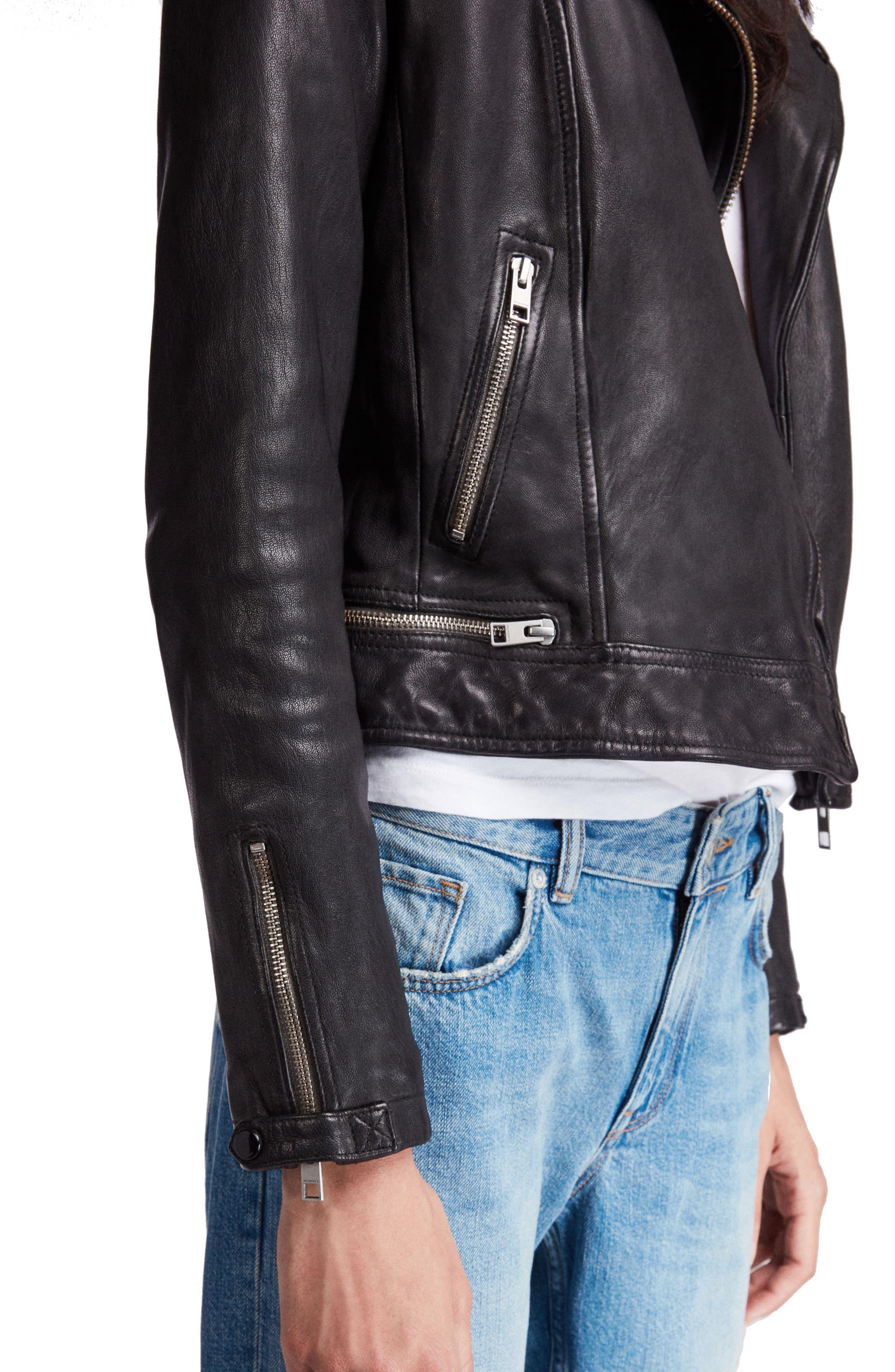 Conroy Leather Biker Jacket,                             Alternate thumbnail 4, color,                             INK