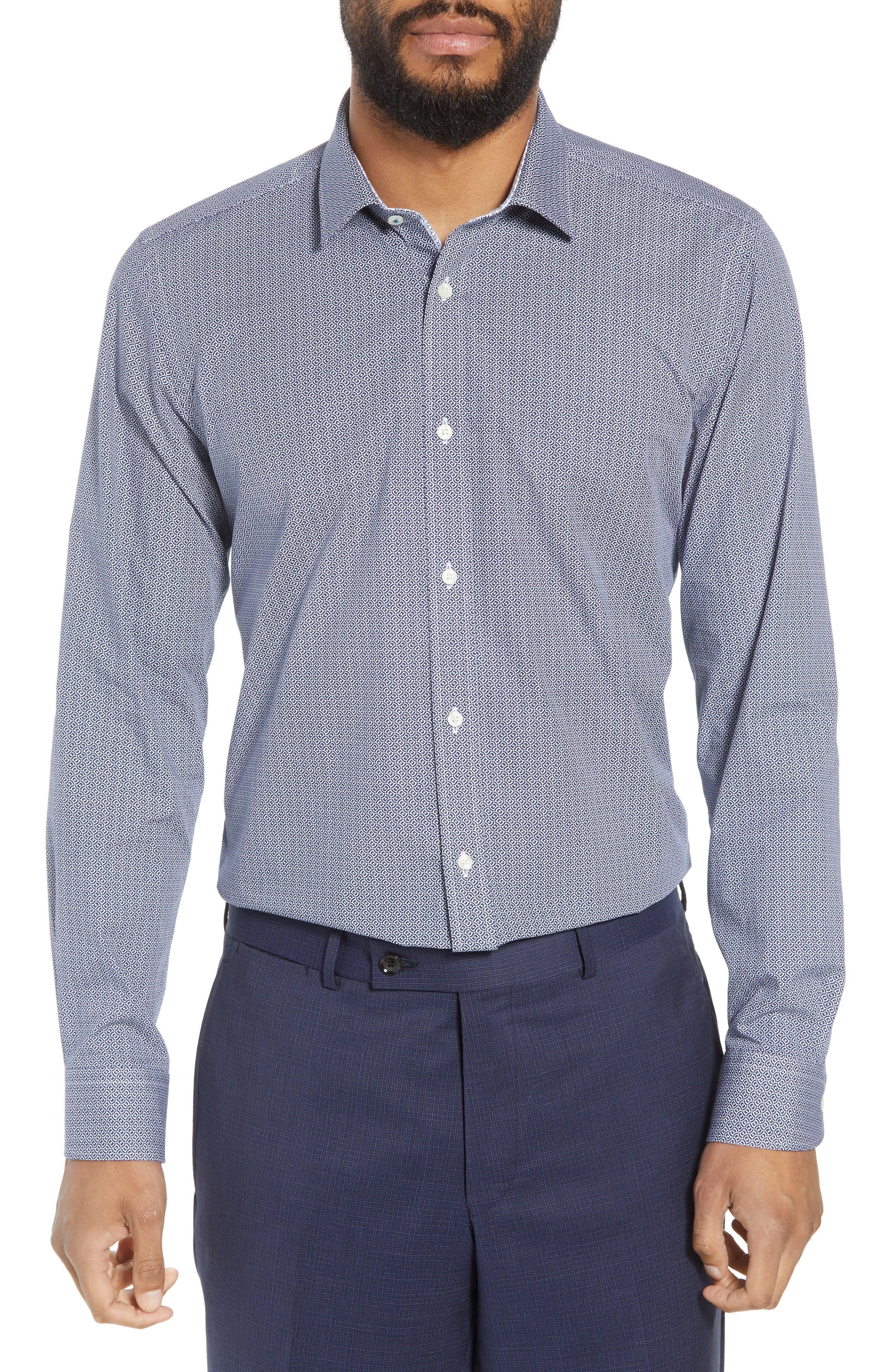 Footz Slim Fit Geometric Dress Shirt,                             Main thumbnail 1, color,                             NAVY