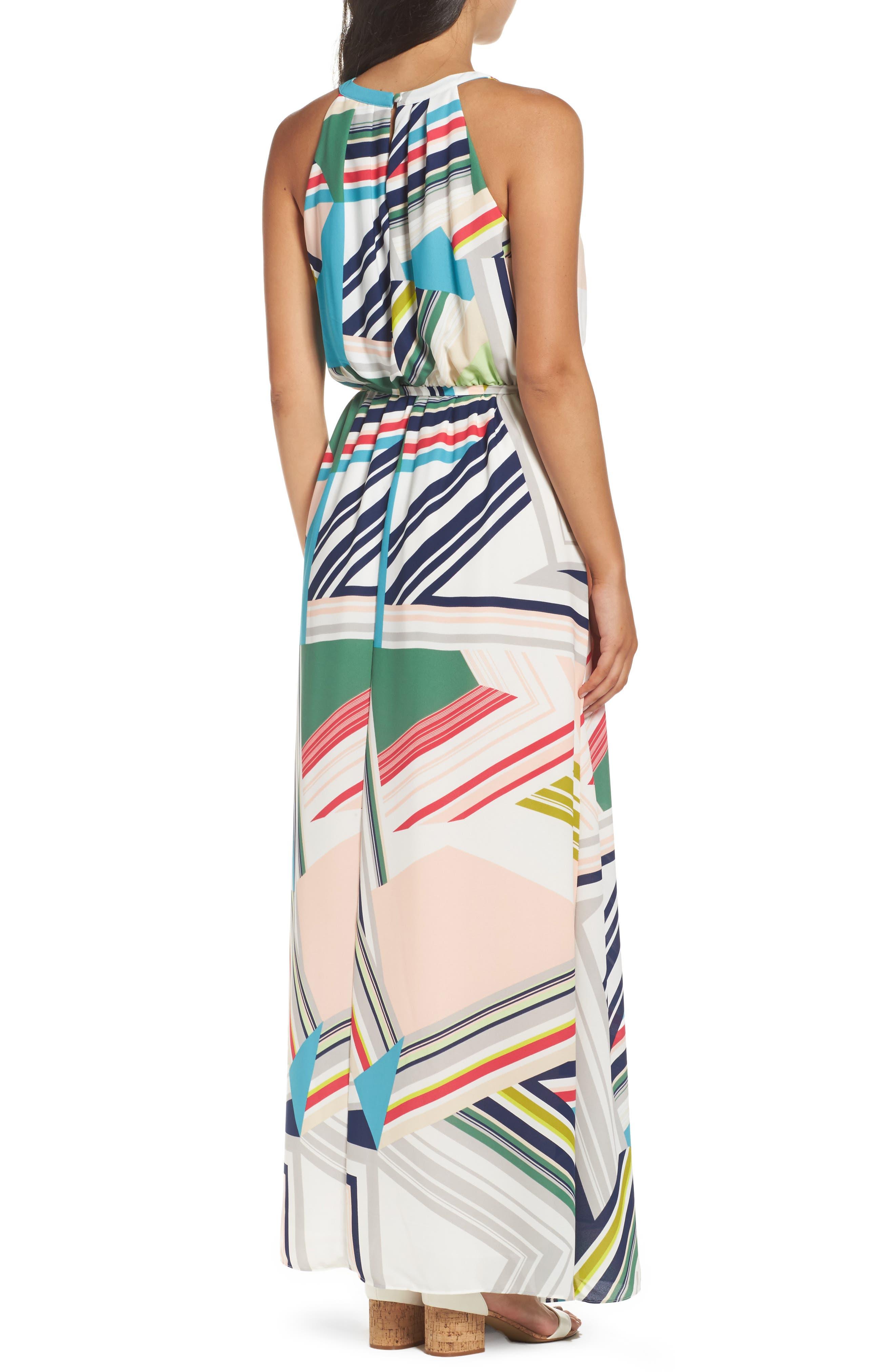 Stripe Maze Pleated Maxi Dress,                             Alternate thumbnail 2, color,                             196