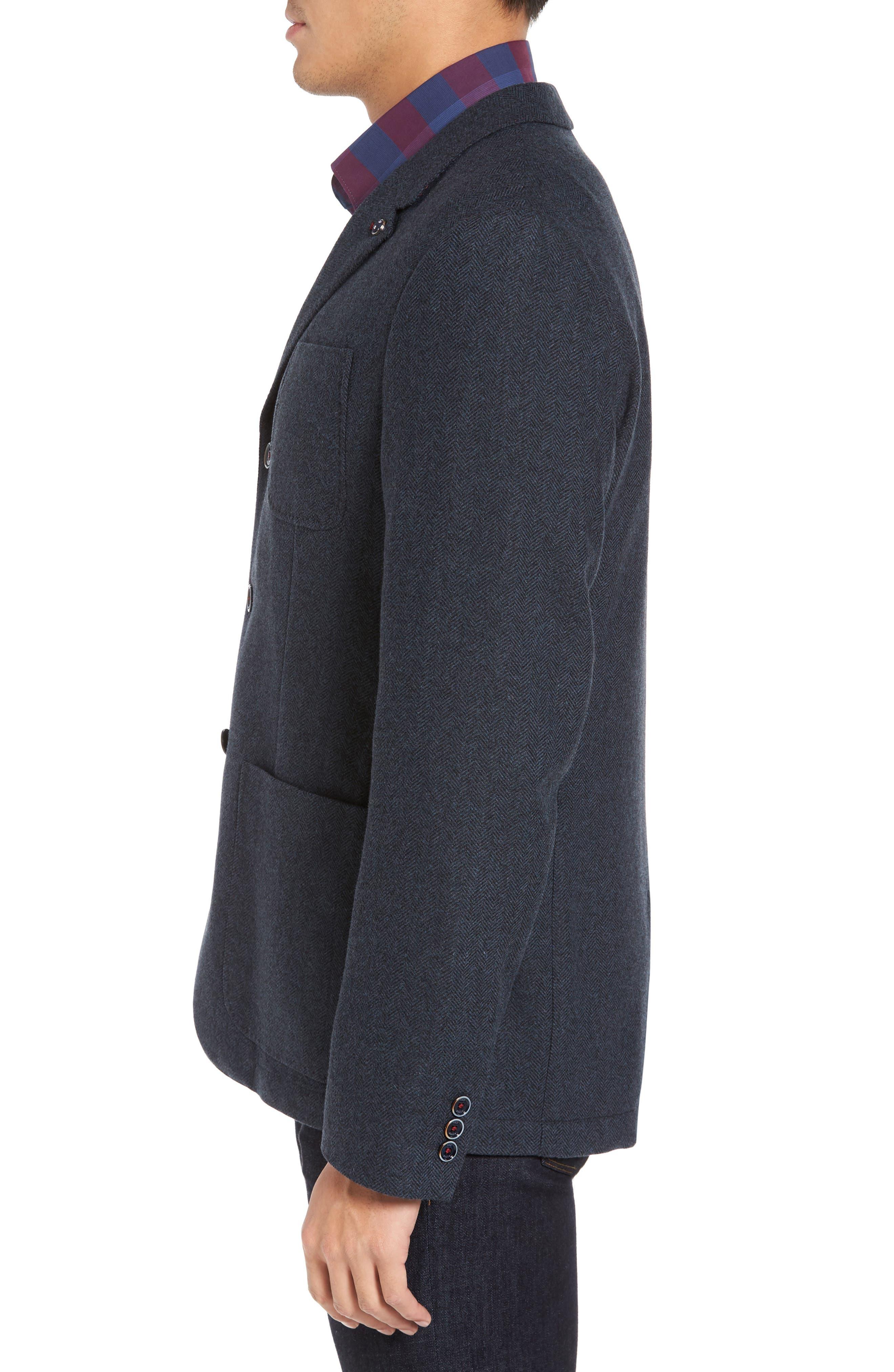 Porter Herringbone Wool Blend Jacket,                             Alternate thumbnail 3, color,                             410