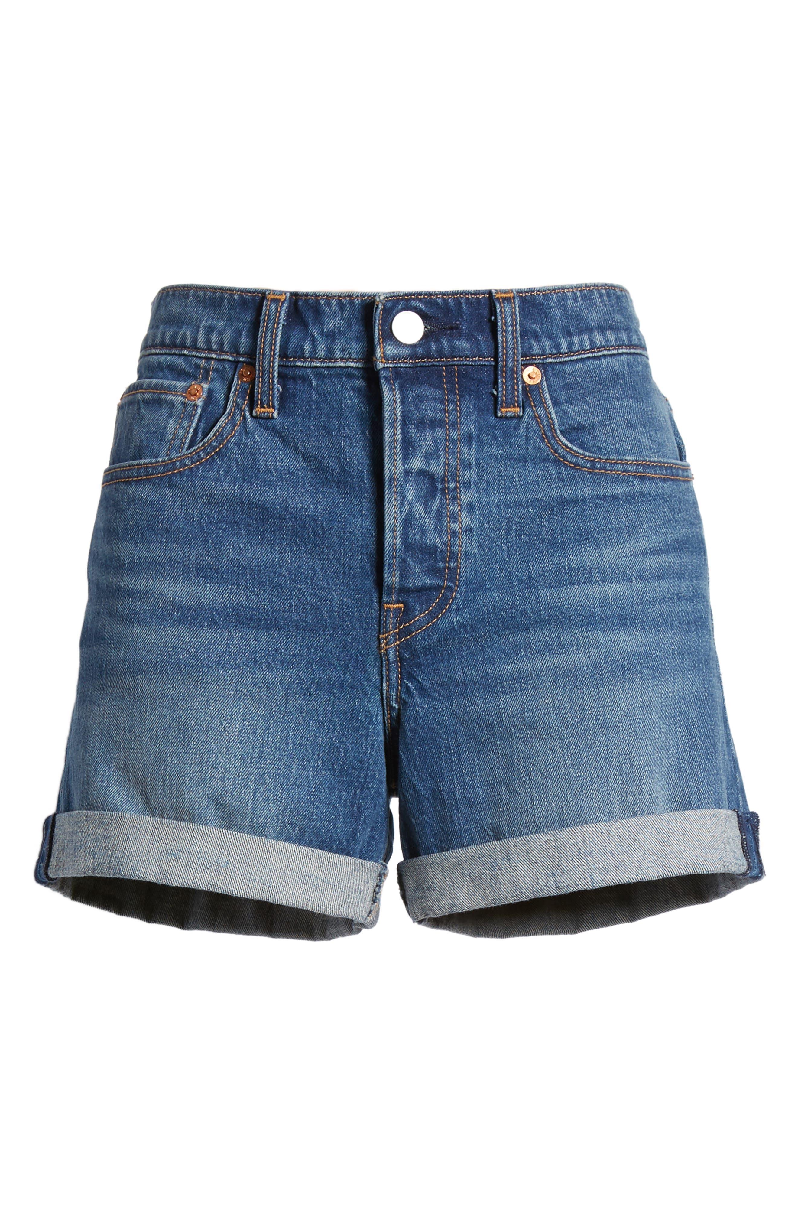 Wedgie Update Denim Shorts,                             Alternate thumbnail 7, color,                             401